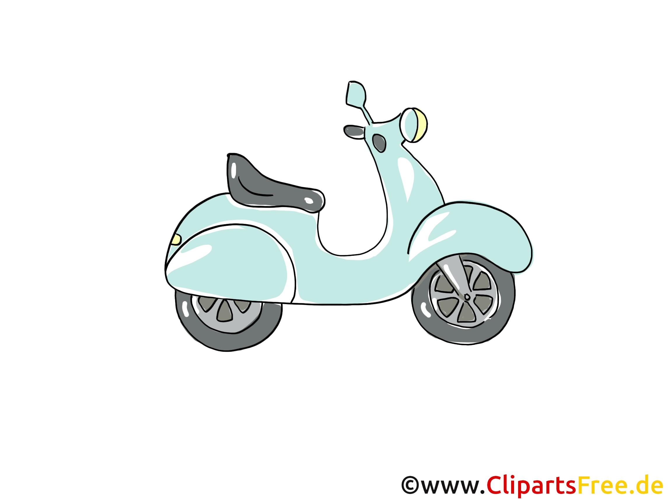 Mofa Clipart, Bild, Cartoon, Comic, Grafik