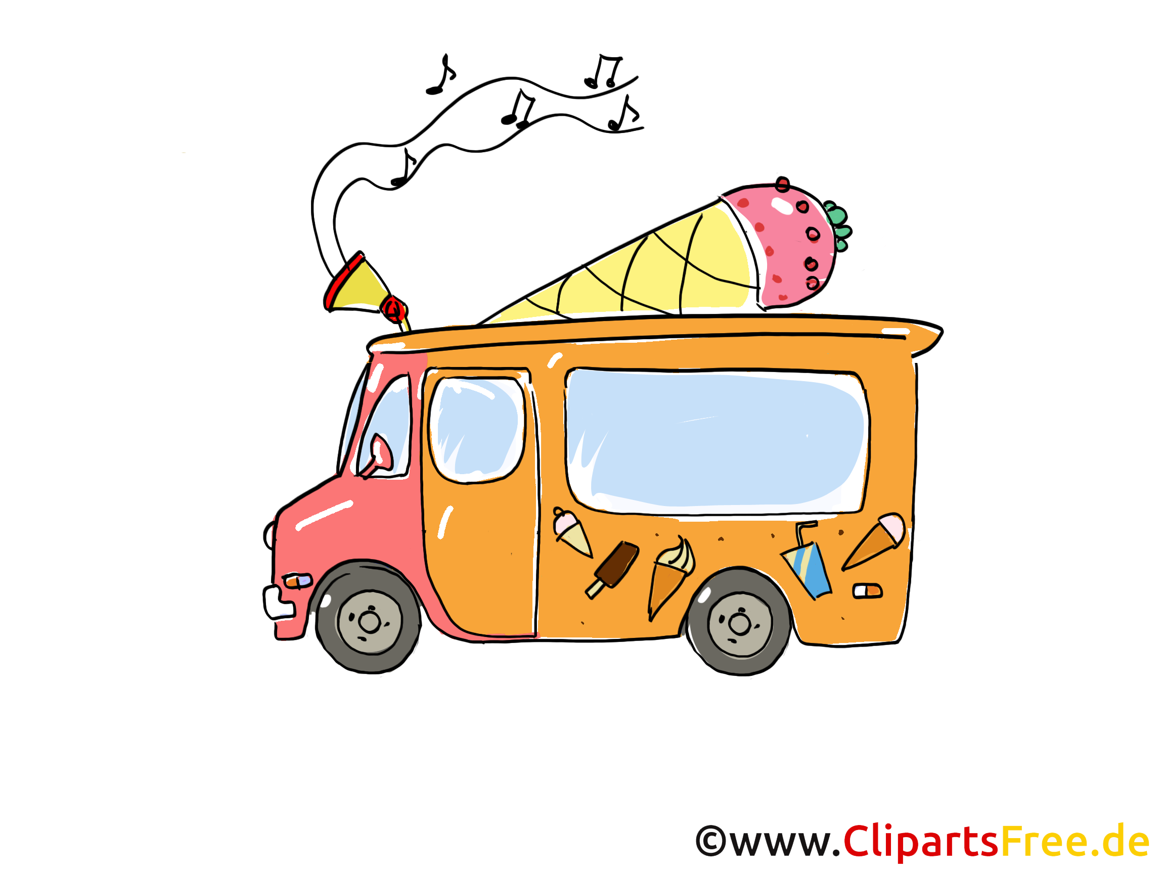 Suesswaren Wagen Clipart, Bild, Cartoon, Comic, Grafik