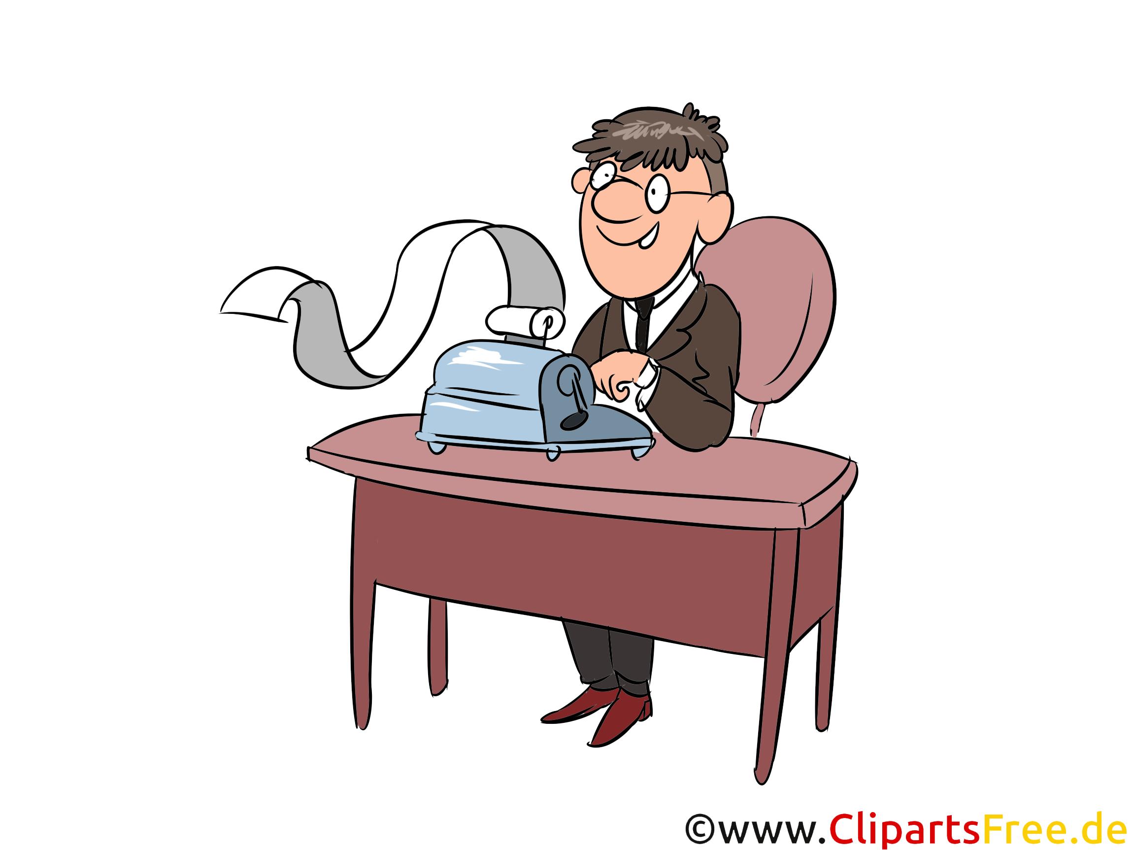 Arbeit Im Buro Schreibmachine Buchhalter Clipart Comics Cartoon