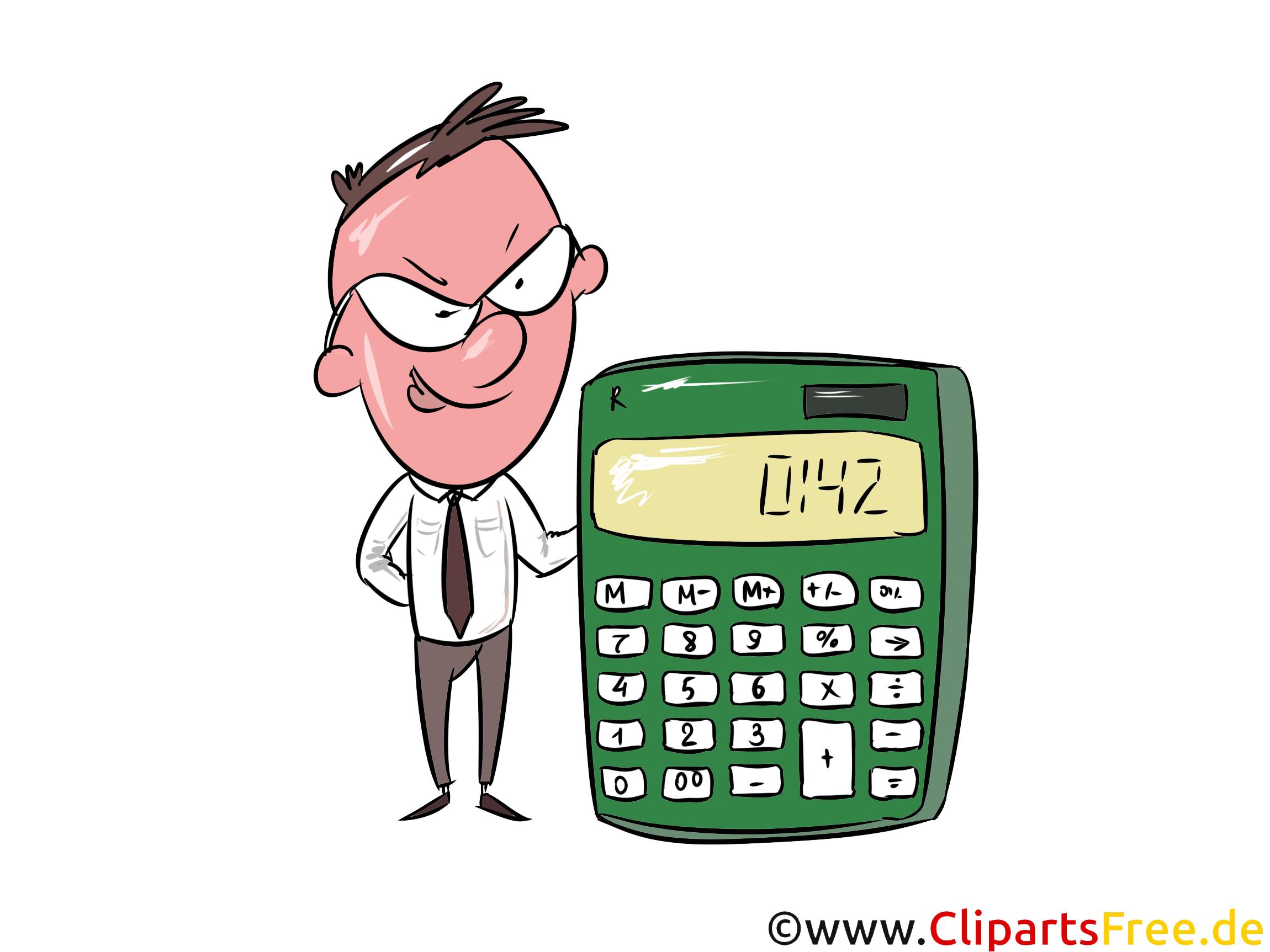 Buchhalter mit Rechner Clipart, Bild, Illustration, Grafik