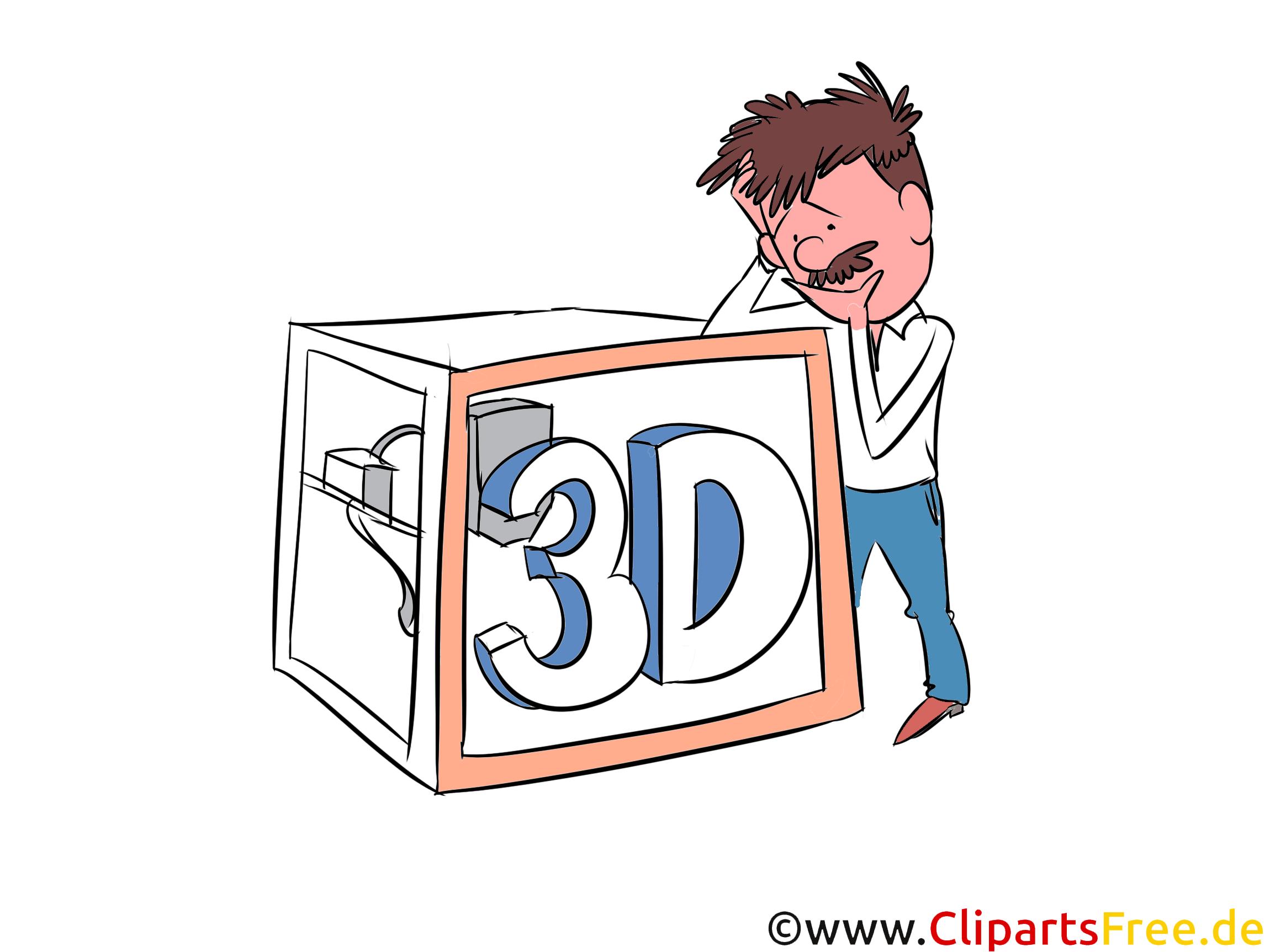 3D-Drucker Zeichnung, Illustration, Clipart