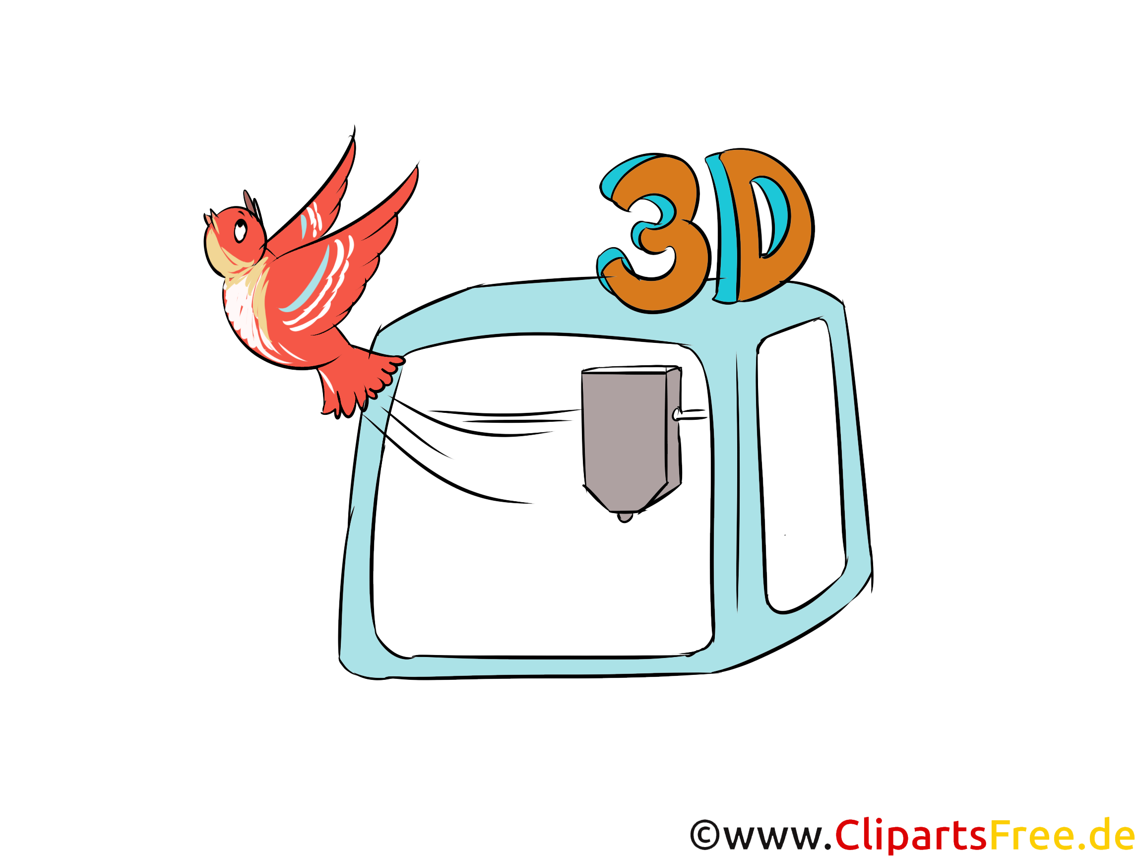 Dreidimensionaler Druck 3D Illustration, Cartoon, Comic, Clip Art