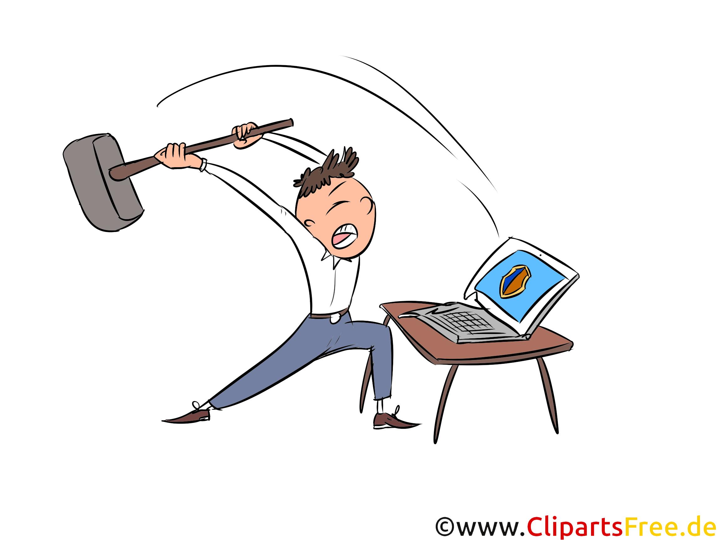 Ärger mit Computer Clipart, Bild, Illustration, Grafik