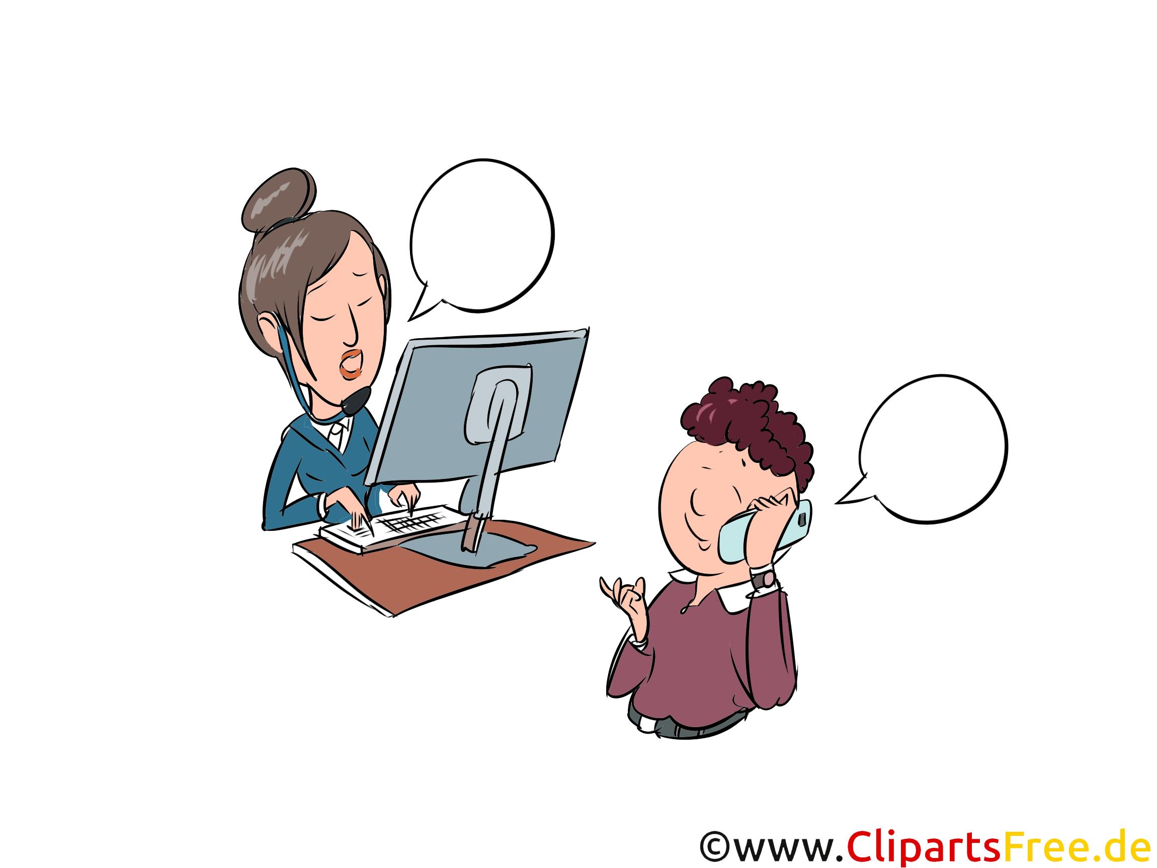 Interview per Telefon, Personal Cliparts, Bilder, Comics
