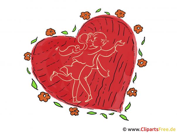 Herz zum Valentinstag Karte - Clipart