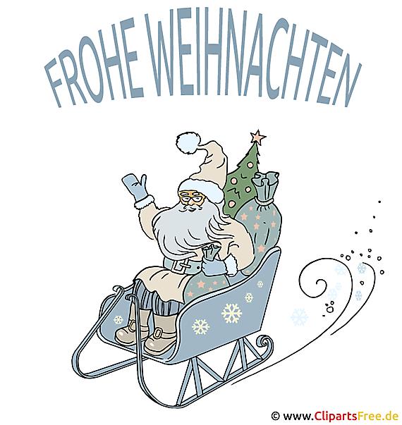 Bild Weihnachten Sata Claus Schlitten