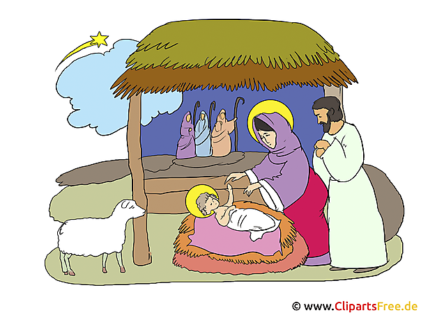 Krippe Weihnachten Clipart-Illustration