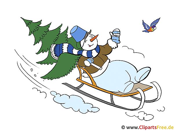 Schneemann auf Schlitten - Weihnachtsurlaub Clipart