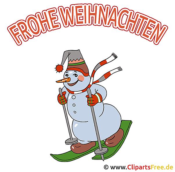Schöne Weihnachtsbilder Schneemann auf Ski