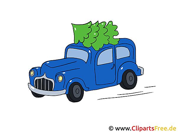 Weihnachts Pic Auto mit Weihnachtsbaum