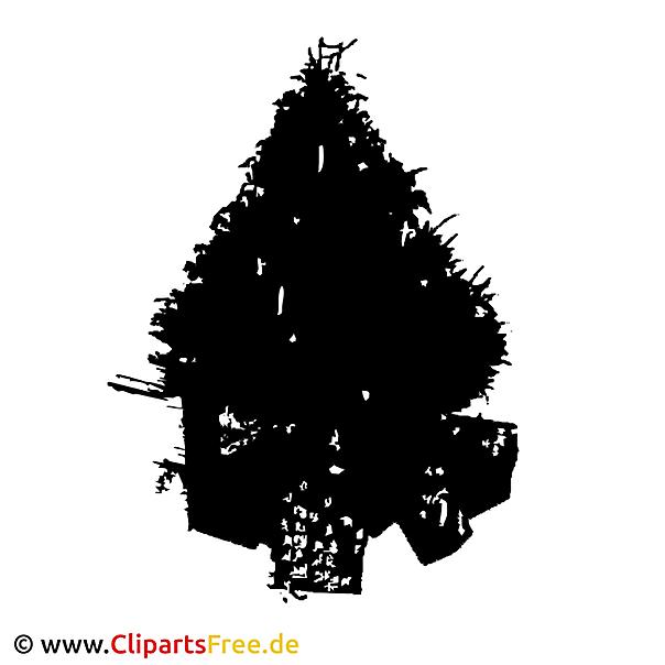 Kerstboom Silhouethorloge Clipart