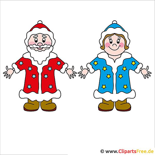 Weihnachtsbild gratis Väterchen Frost und Snegurochka