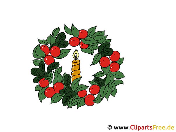 Weihnachtsbilder Vorlagen - Kerze mit Adventskranz