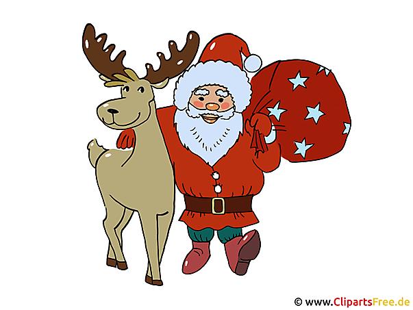 Weihnachtsclipart Santa und Reh