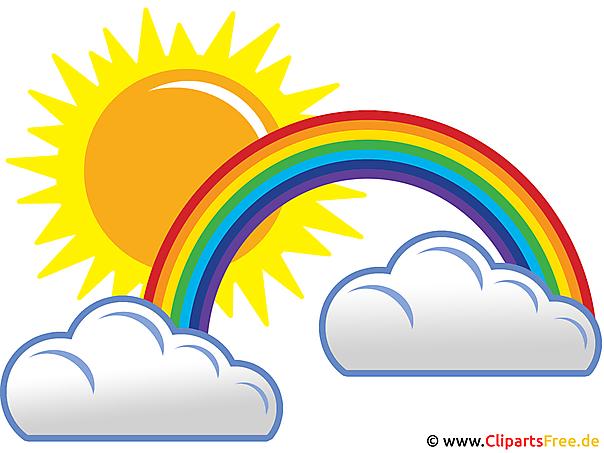 Sonne clipart gratis  Regenbogen, Sonne und Wolken - Wetter Pics