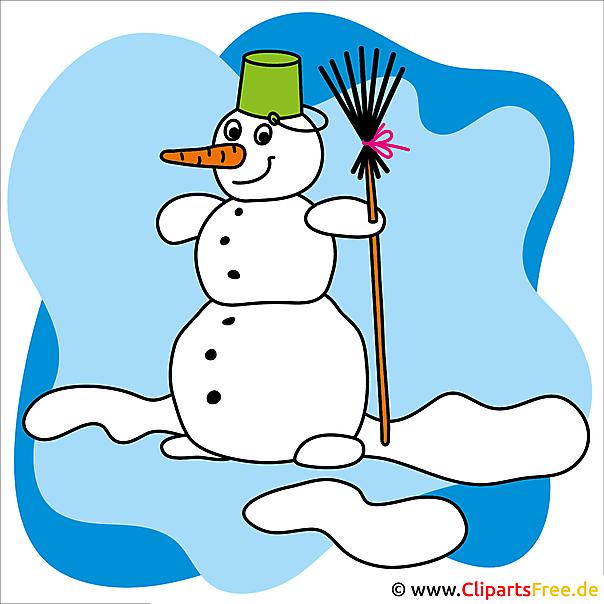 Weihnachtsbild gratis Schneemann mit Besen