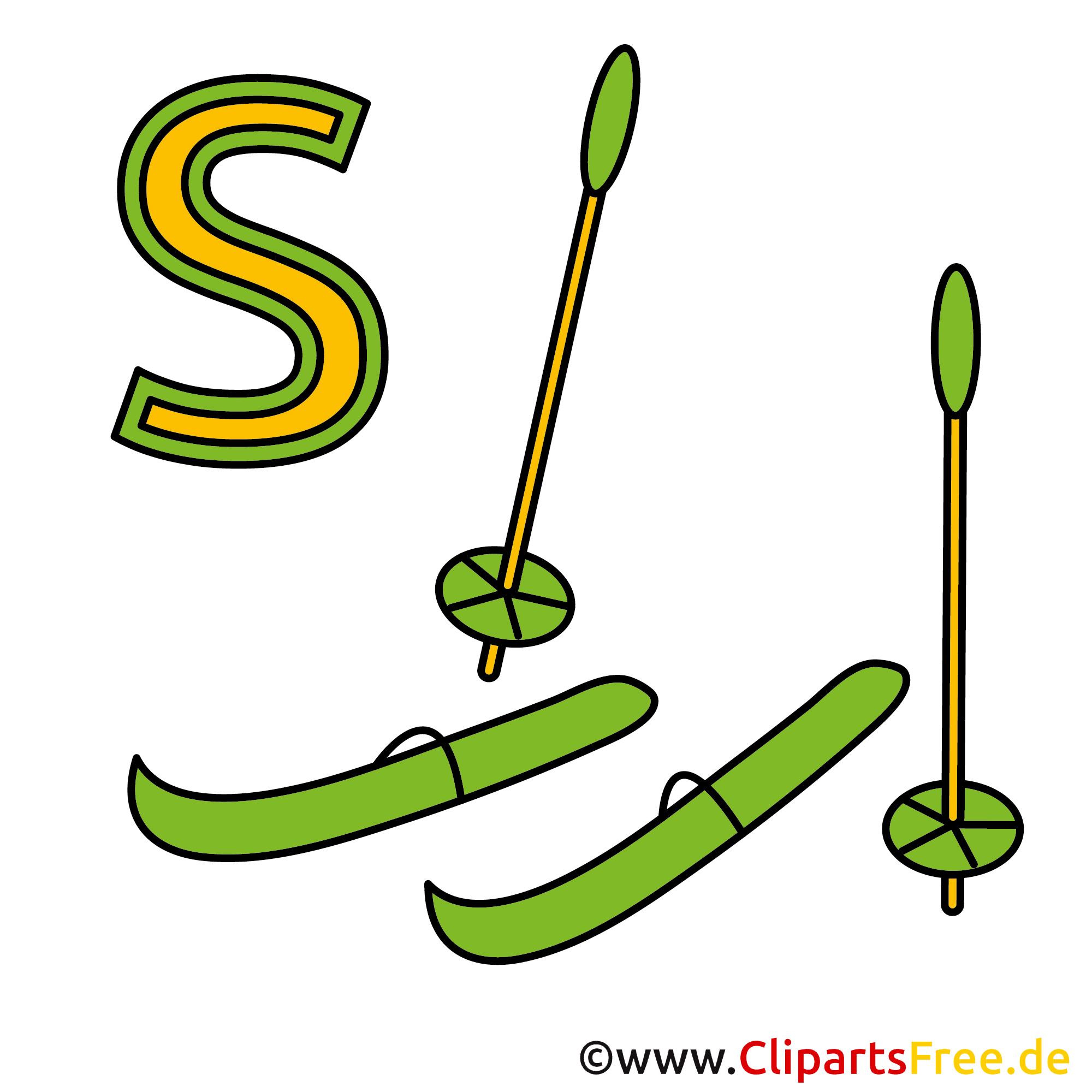 Deutsche Buchstaben in Bildern - Ski Bild
