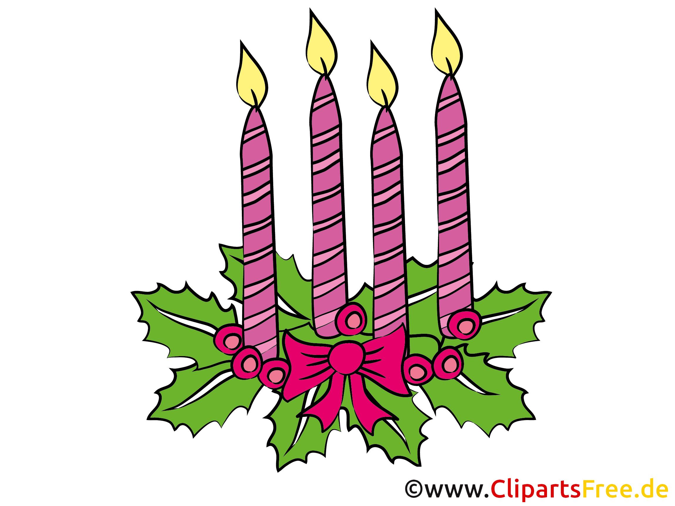 4 Advent Bild, Clipart mit vier Kerzen