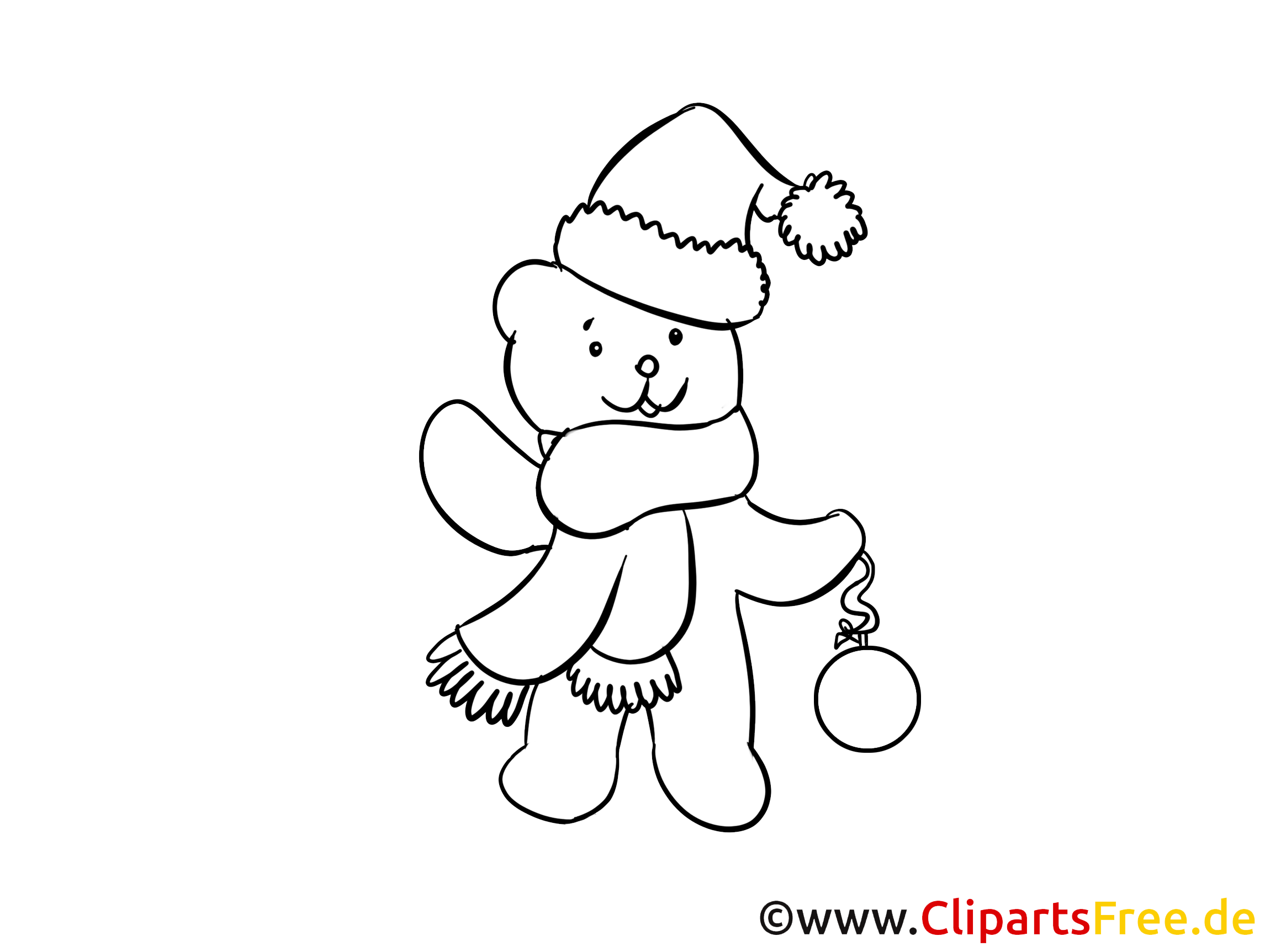 Coloring Sheet Christmas Teddy for free