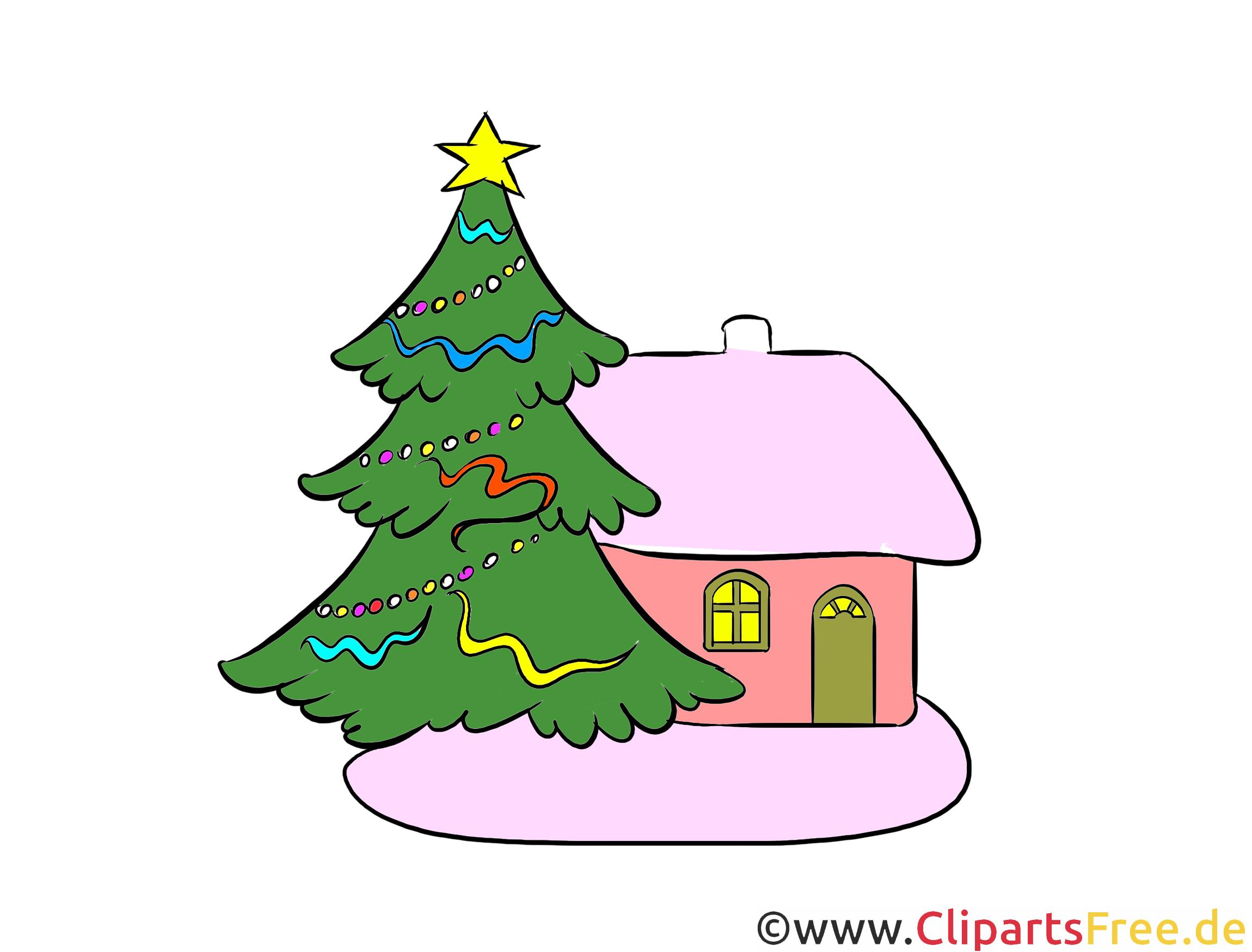 Darmowe cliparty Boże Narodzenie, choinka, dom