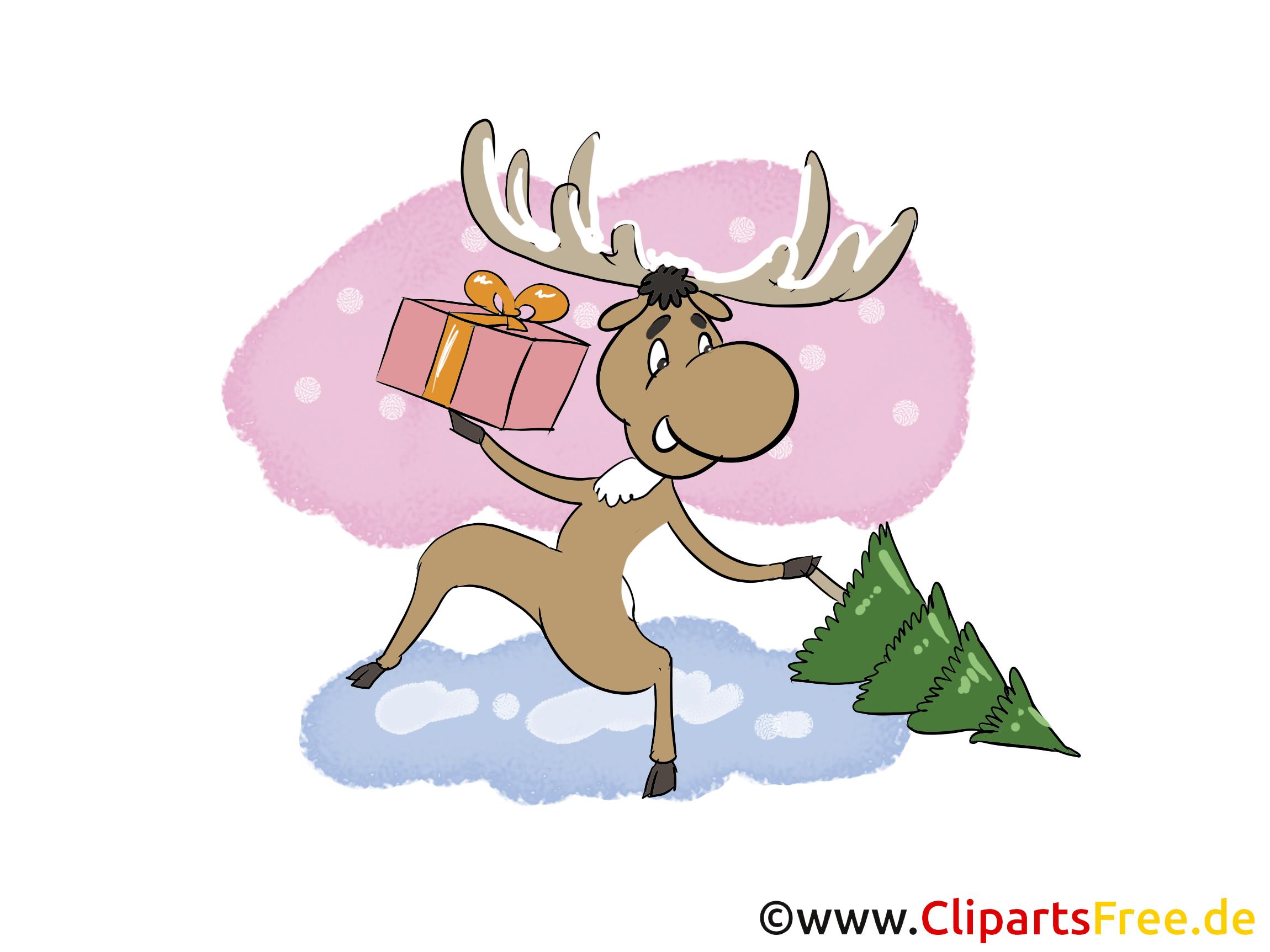 Elch vom Santa Claus Bild, Clip Art, Image, Cartoon gratis
