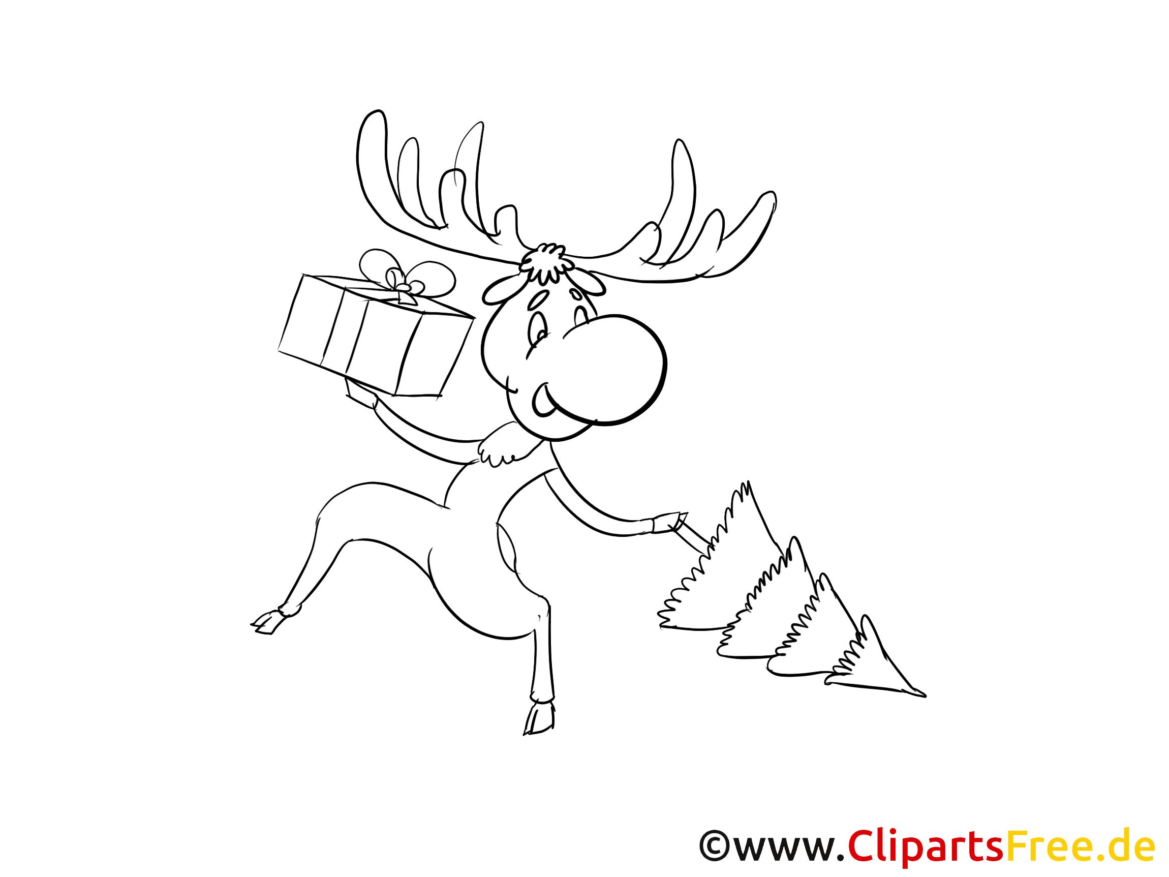 Elch zu Weihnachten Bild zum Ausmalen