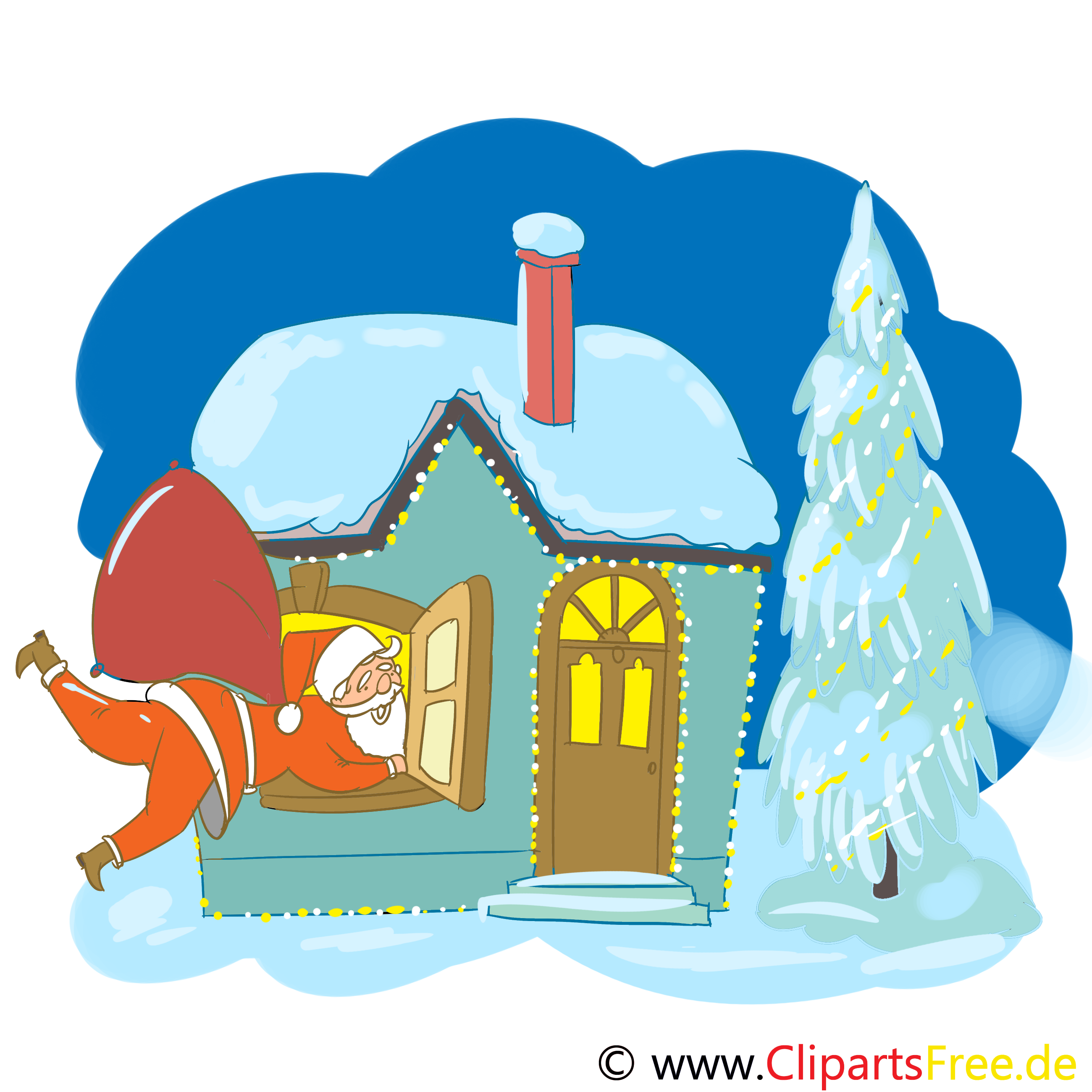Haus In Schnee Clipart Zu Weihnachten
