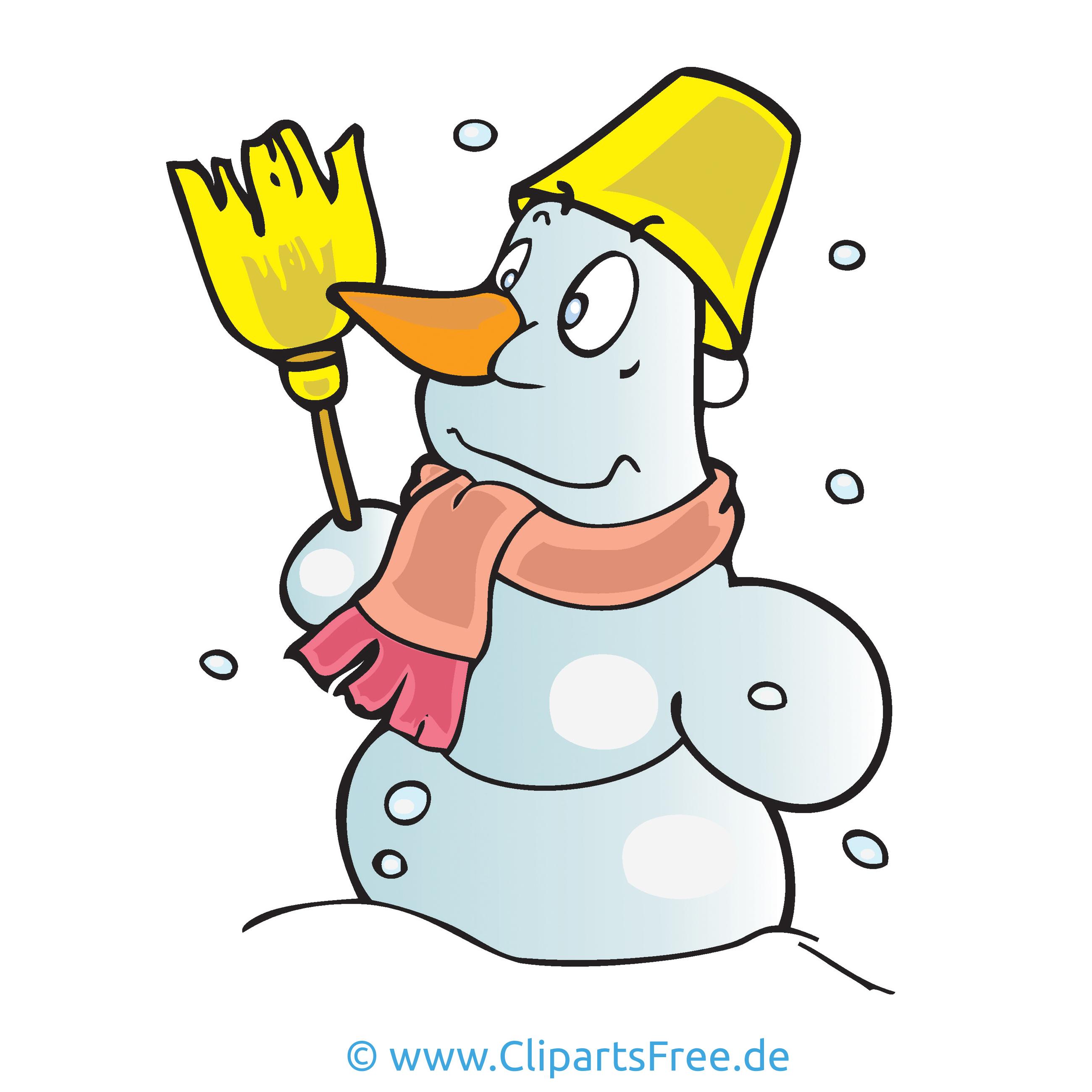 Schneemann mit Eimer Cartoon, Bild