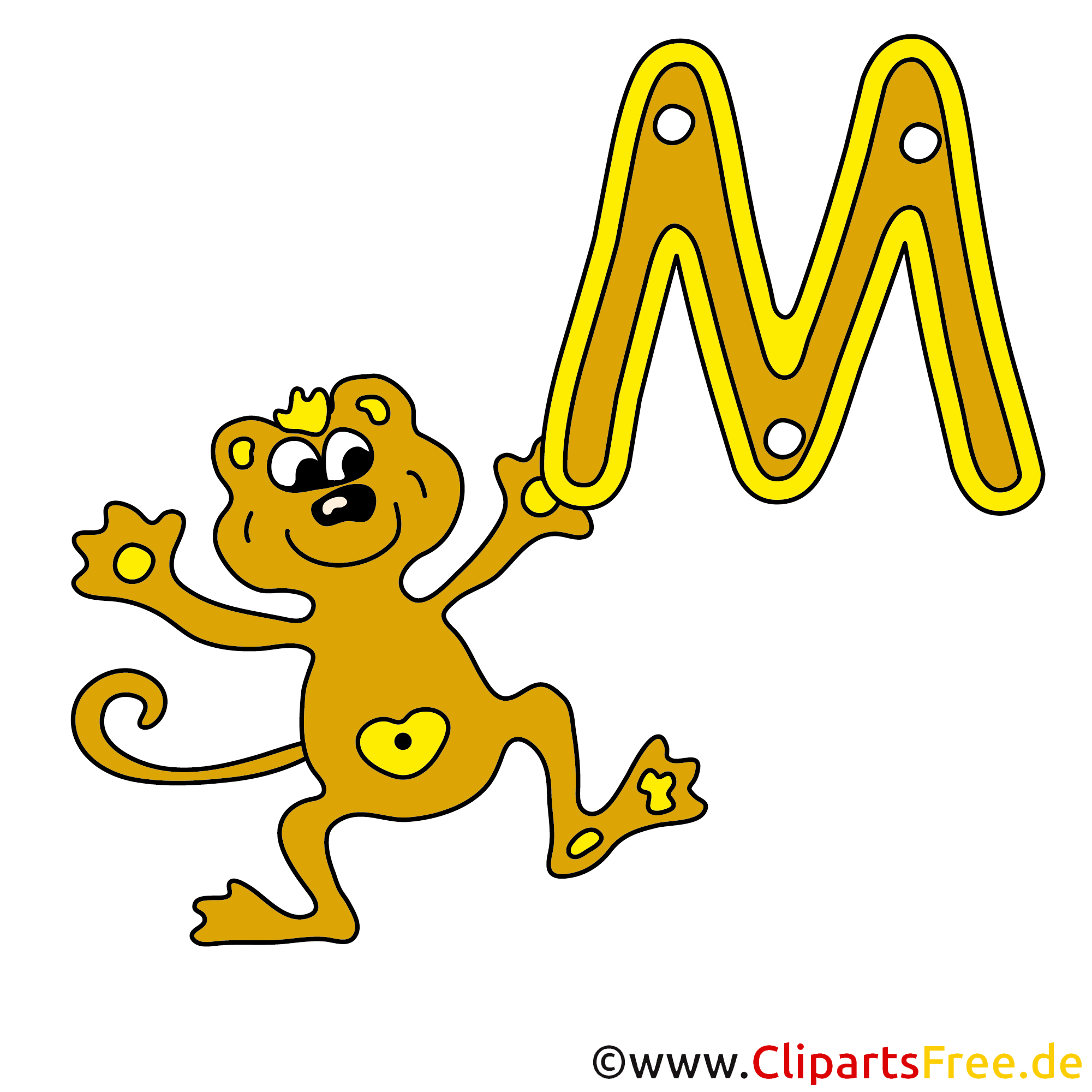M is for Monkey - Alphabet Clipart