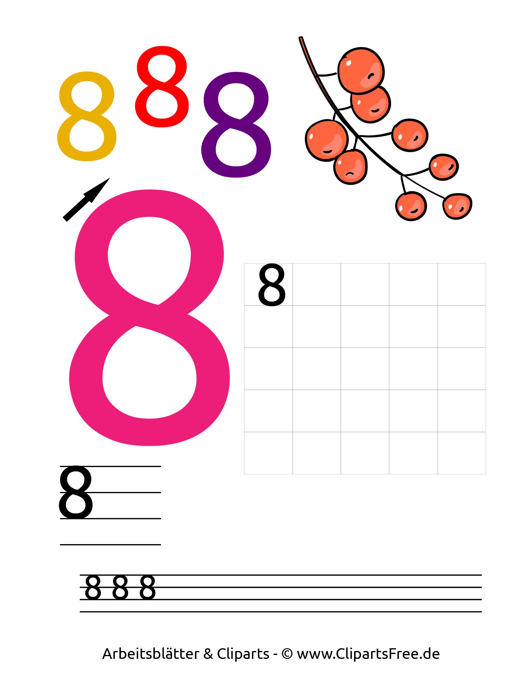 8 - Zahlen ausdrucken gratis