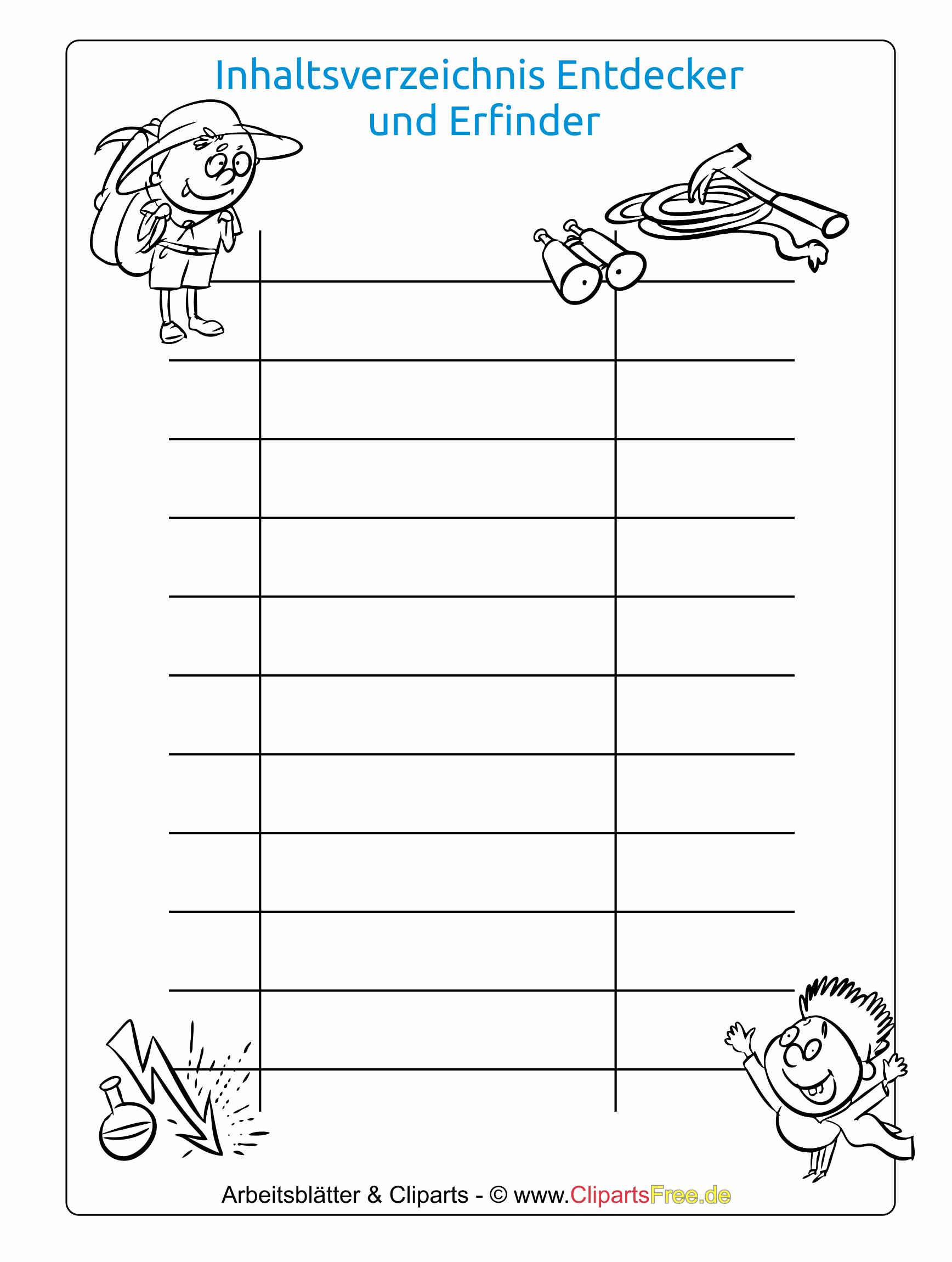 Inhaltsverzeichnis Zum Ausdrucken Schule: Inhaltsverzeichnis Vorlage Download Schule