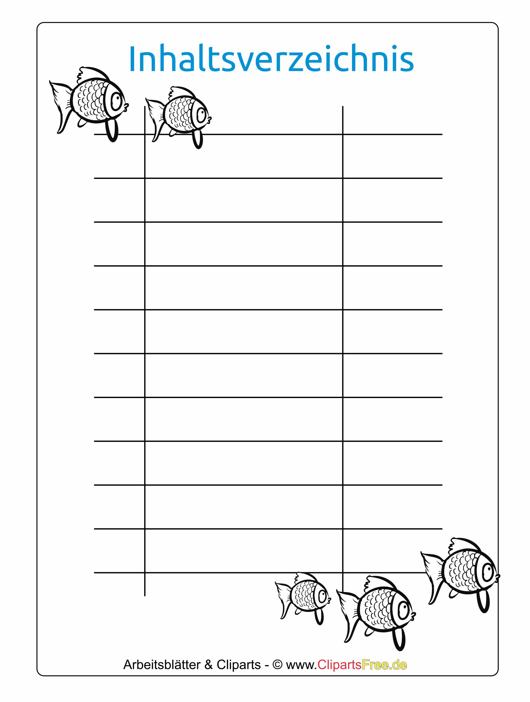 Inhaltsverzeichnis vorlage zum ausdrucken for Tabelle muster word