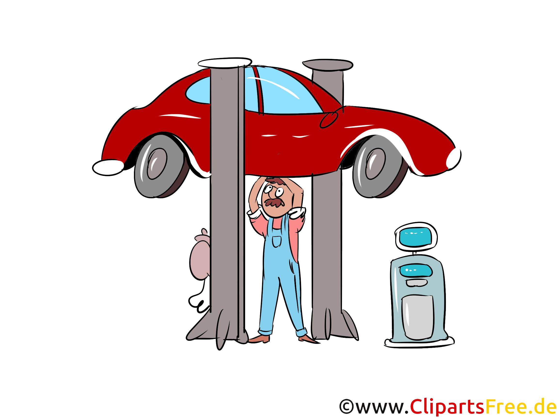 Auto auf Hebebühne in Werkstatt Bild, Illustration, Clipart