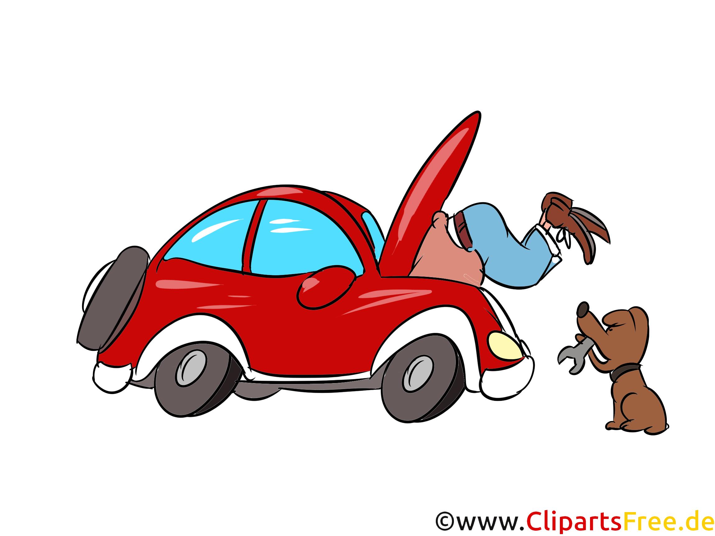 Auto selbst reparieren Bild, Illustration, Clipart, Cartoon gratis