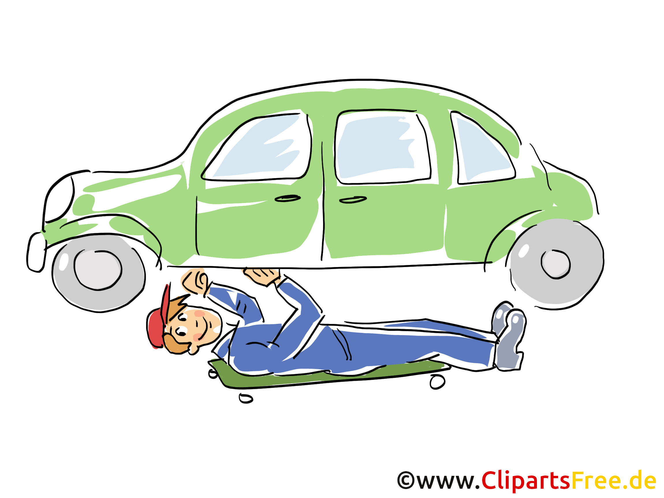 Auto selbst reparieren Clipart, Bild, Grafik, Cartoon, Illustration gratis