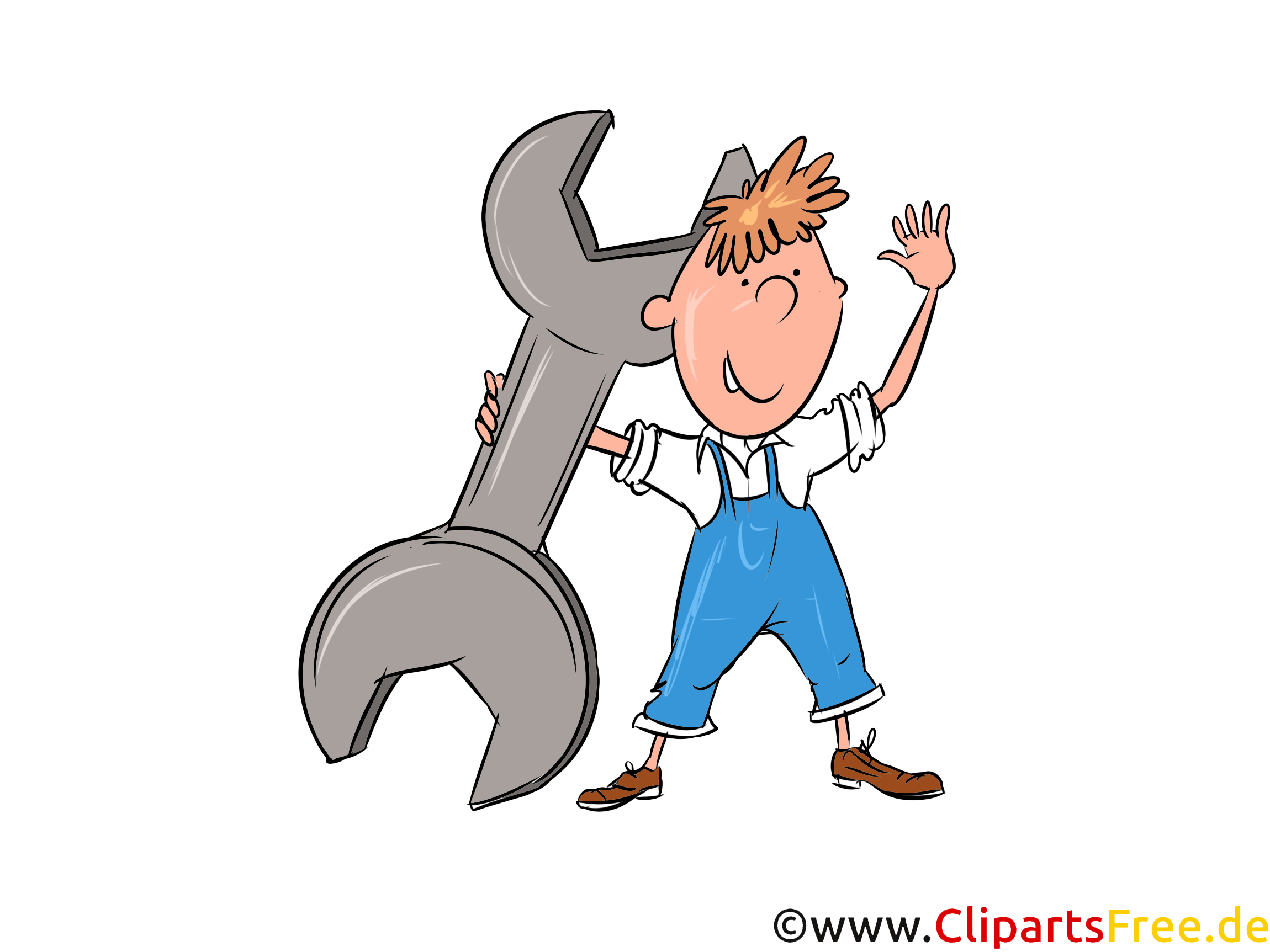 Automechaniker Bild, Illustration, Clipart, Cartoon gratis