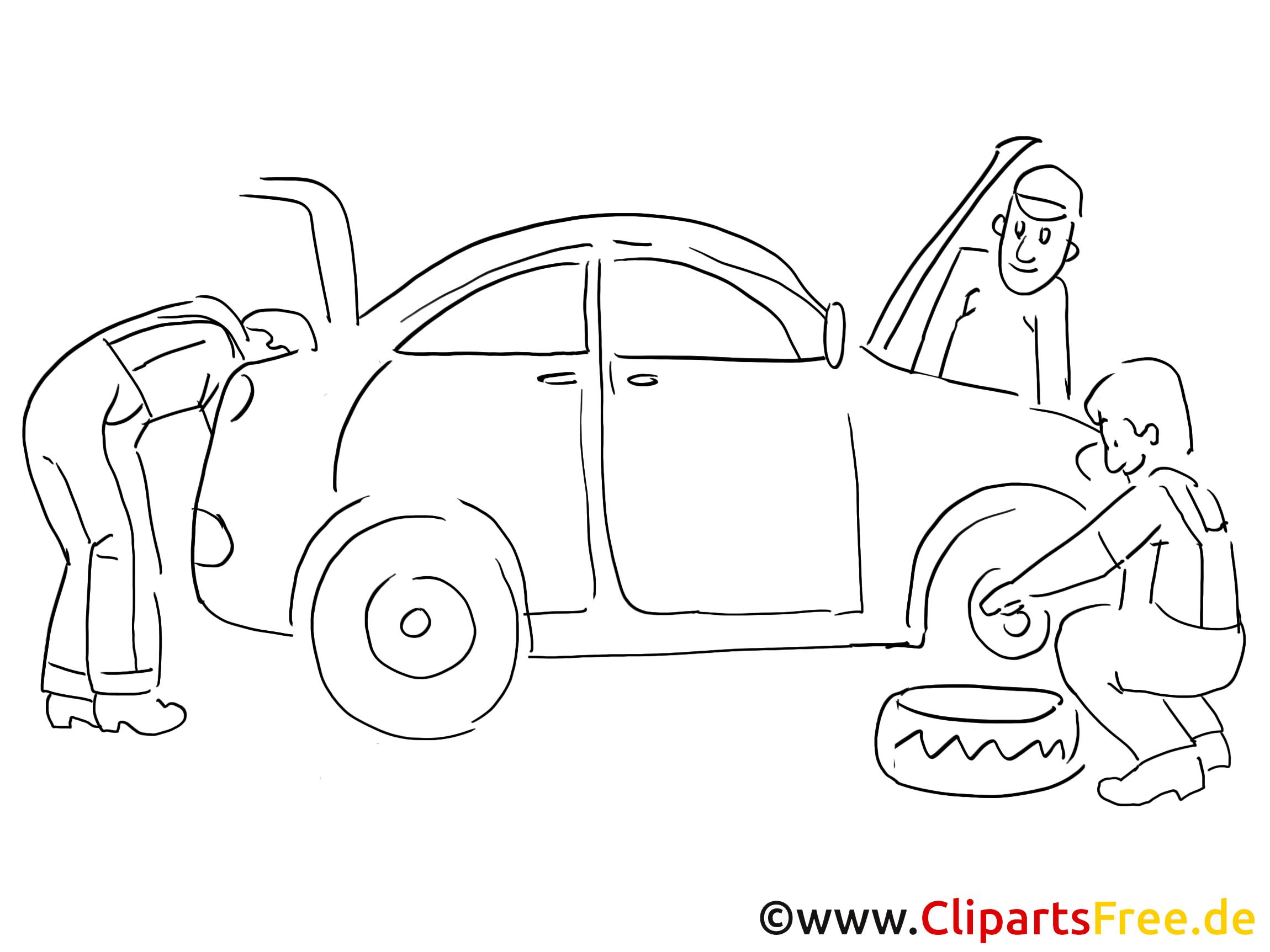Automobile repair shop clip art black and white, graphic, pic