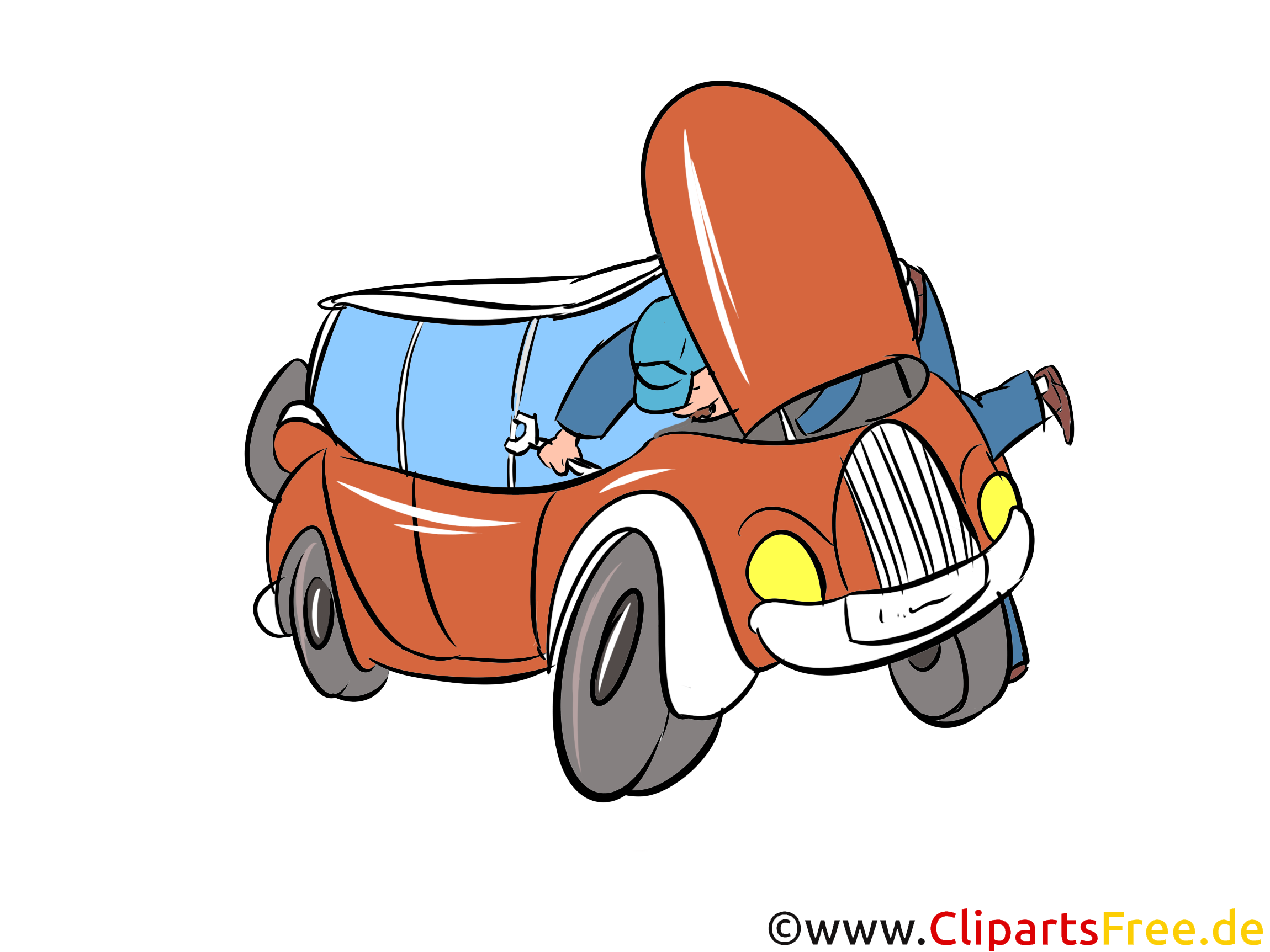 Autopanne auf Autobahn Bild, Illustration, Clipart, Cartoon gratis