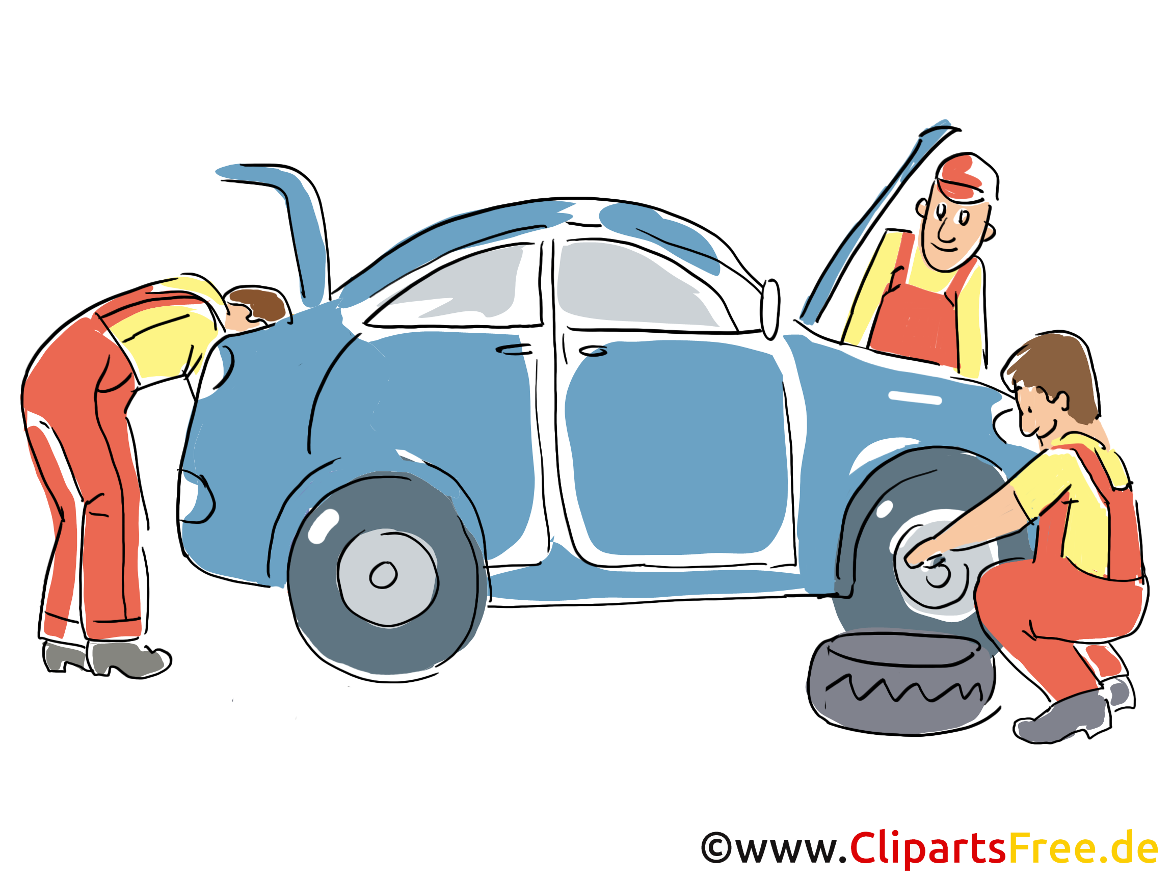 Autoservice, Inspektion Clipart, Bild, Grafik, Cartoon, Illustration gratis