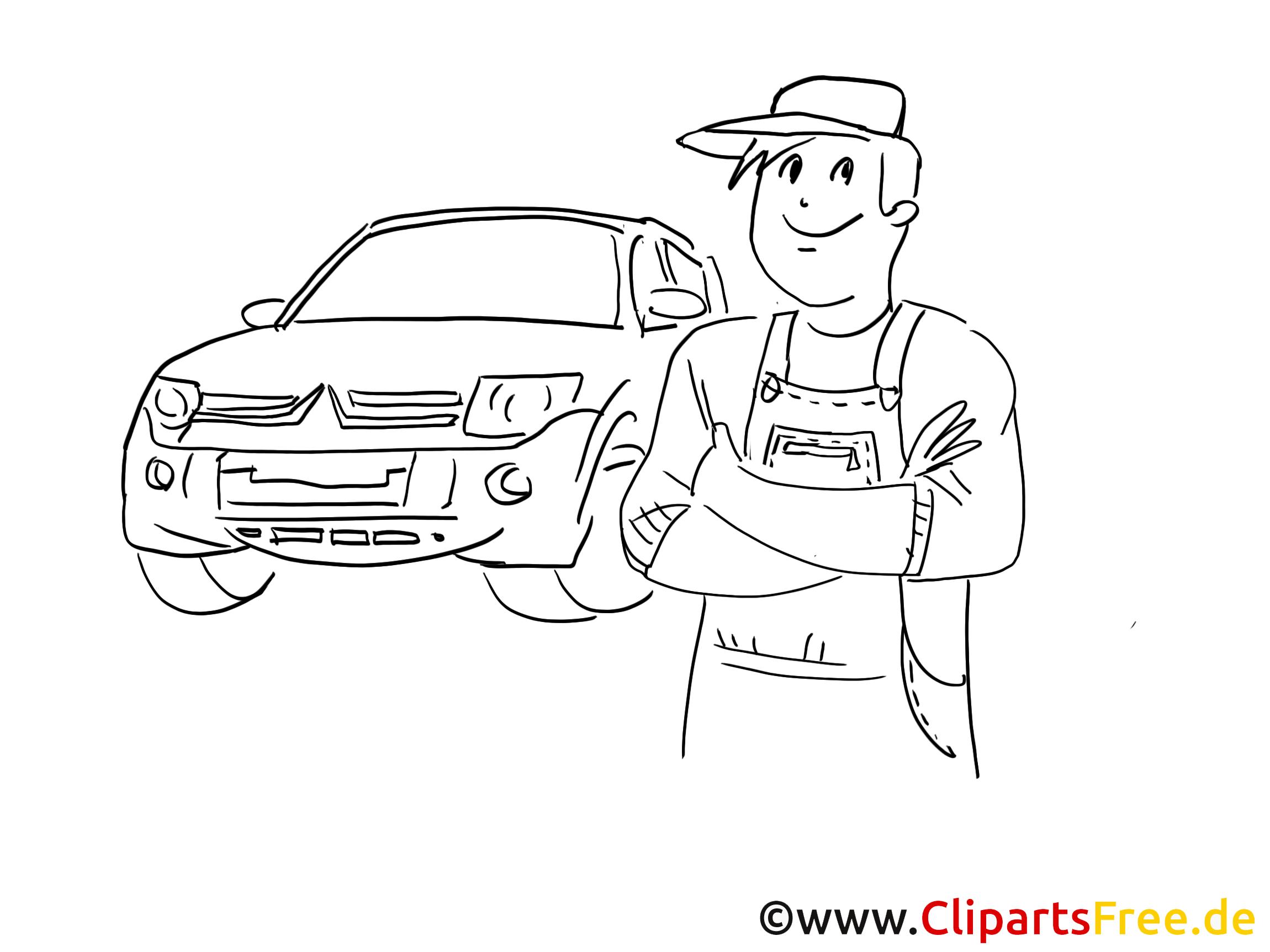 Car maintenance and repair clip art, graphic, pic, cartoon, comic free