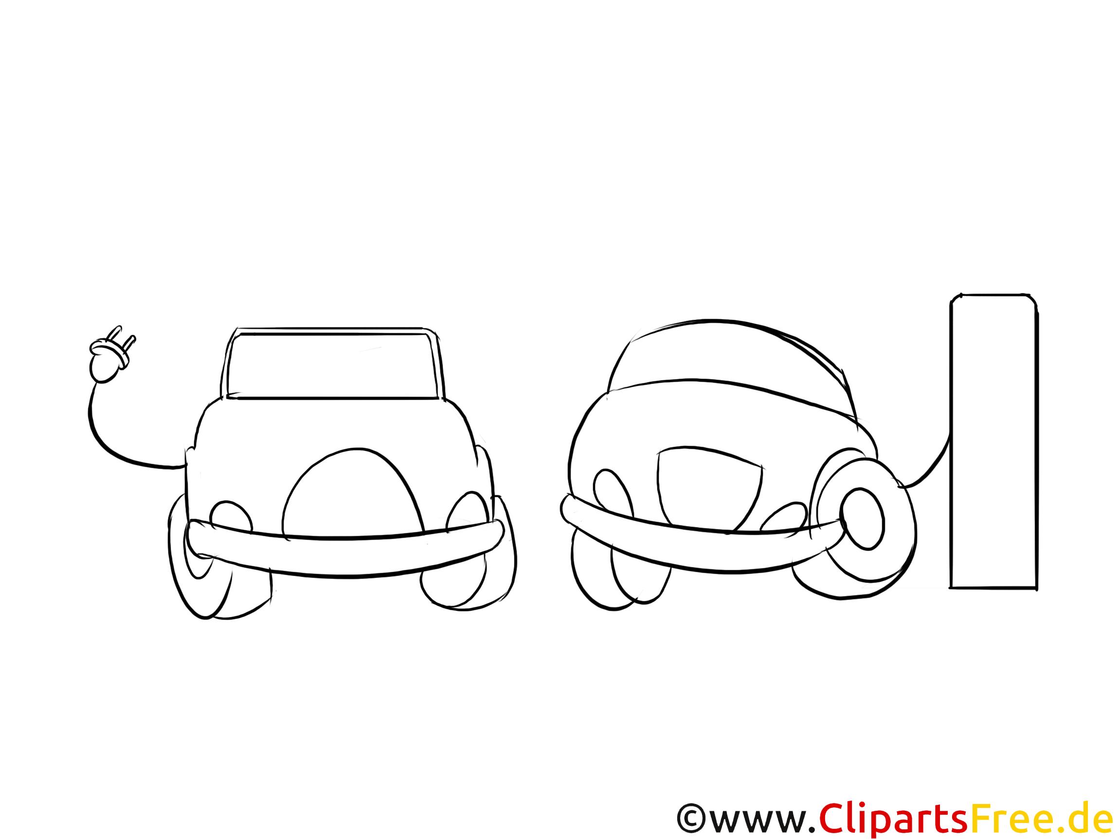 Autos auf dem Parkplatz mit Ladestationen Clipart, Bild, Grafik