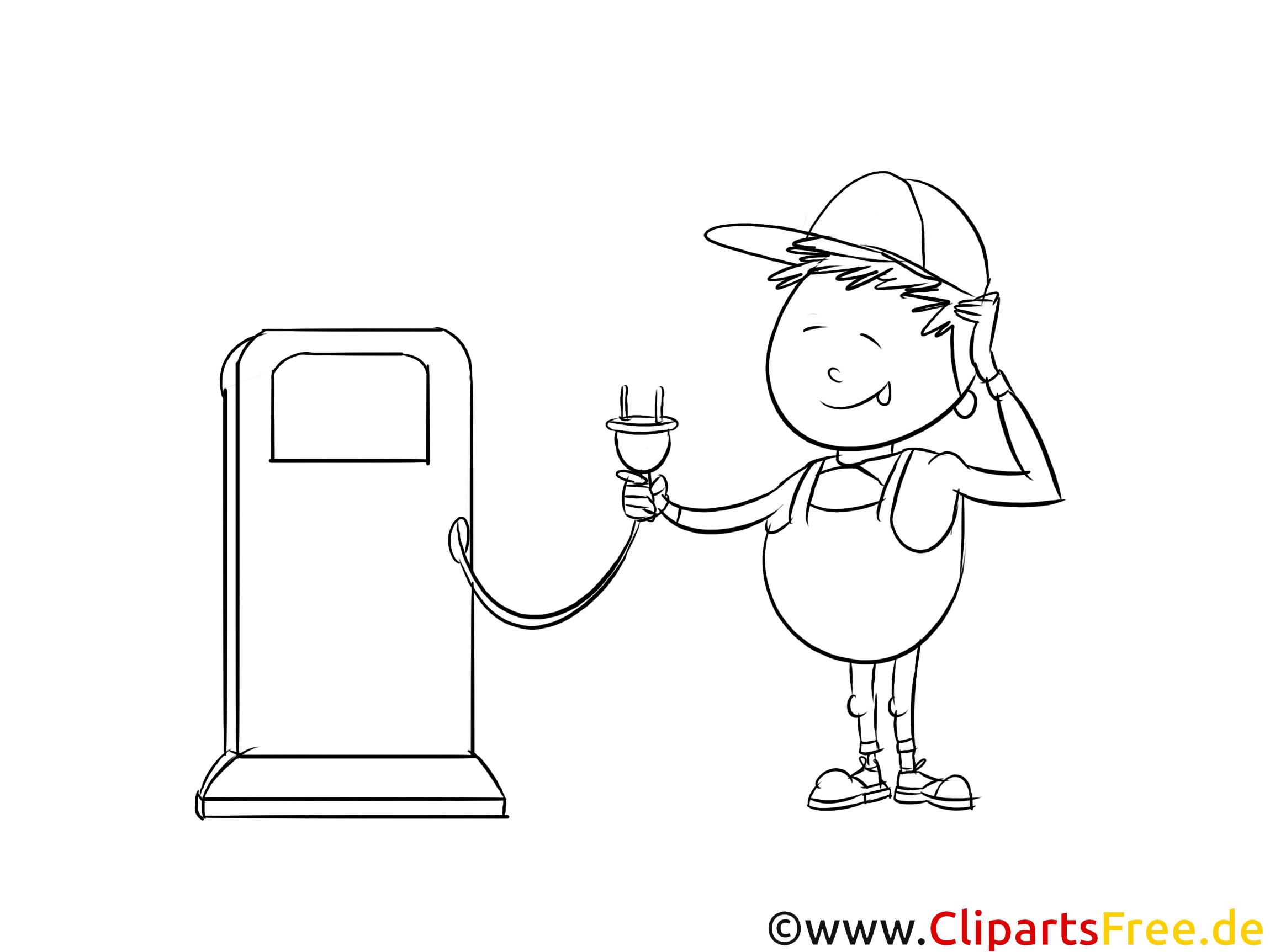 Clipart Elektro Auto an einer Ladestation aufladen