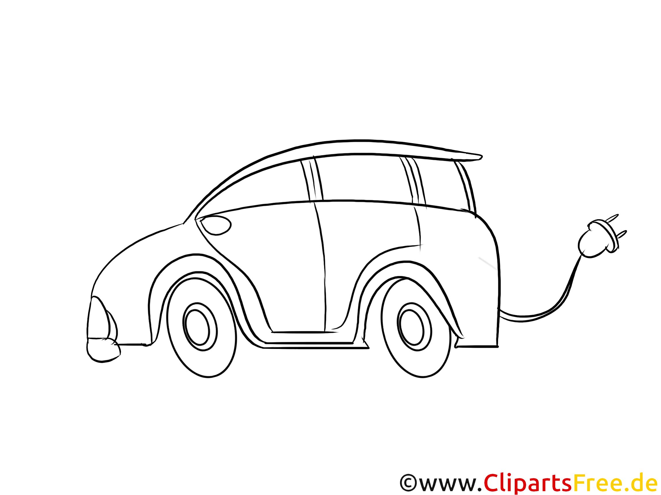 E-Auto Clipart, Bild schwarz-weiß