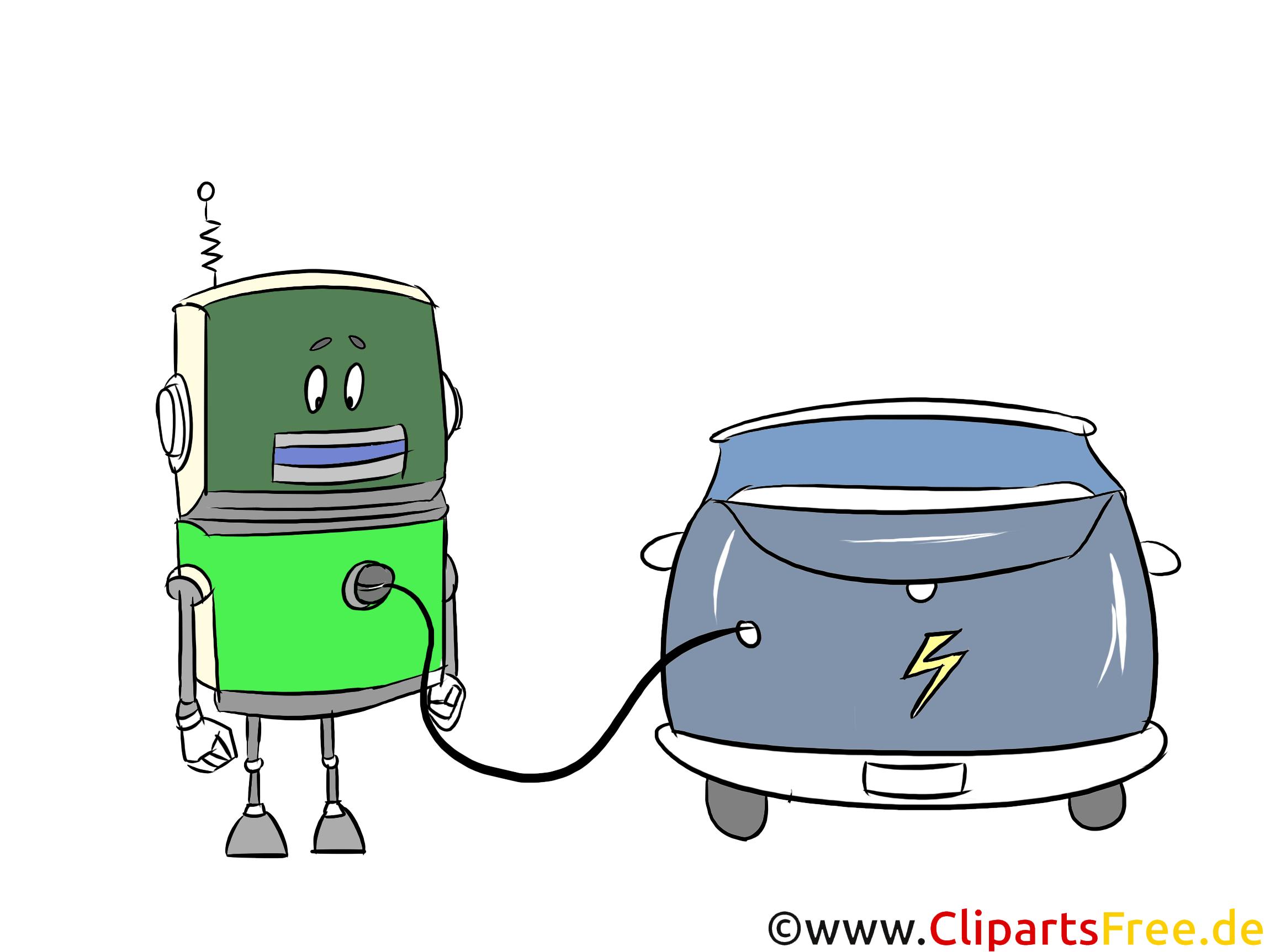 Roboter, e-Auto Clipart, Grafik, Bild