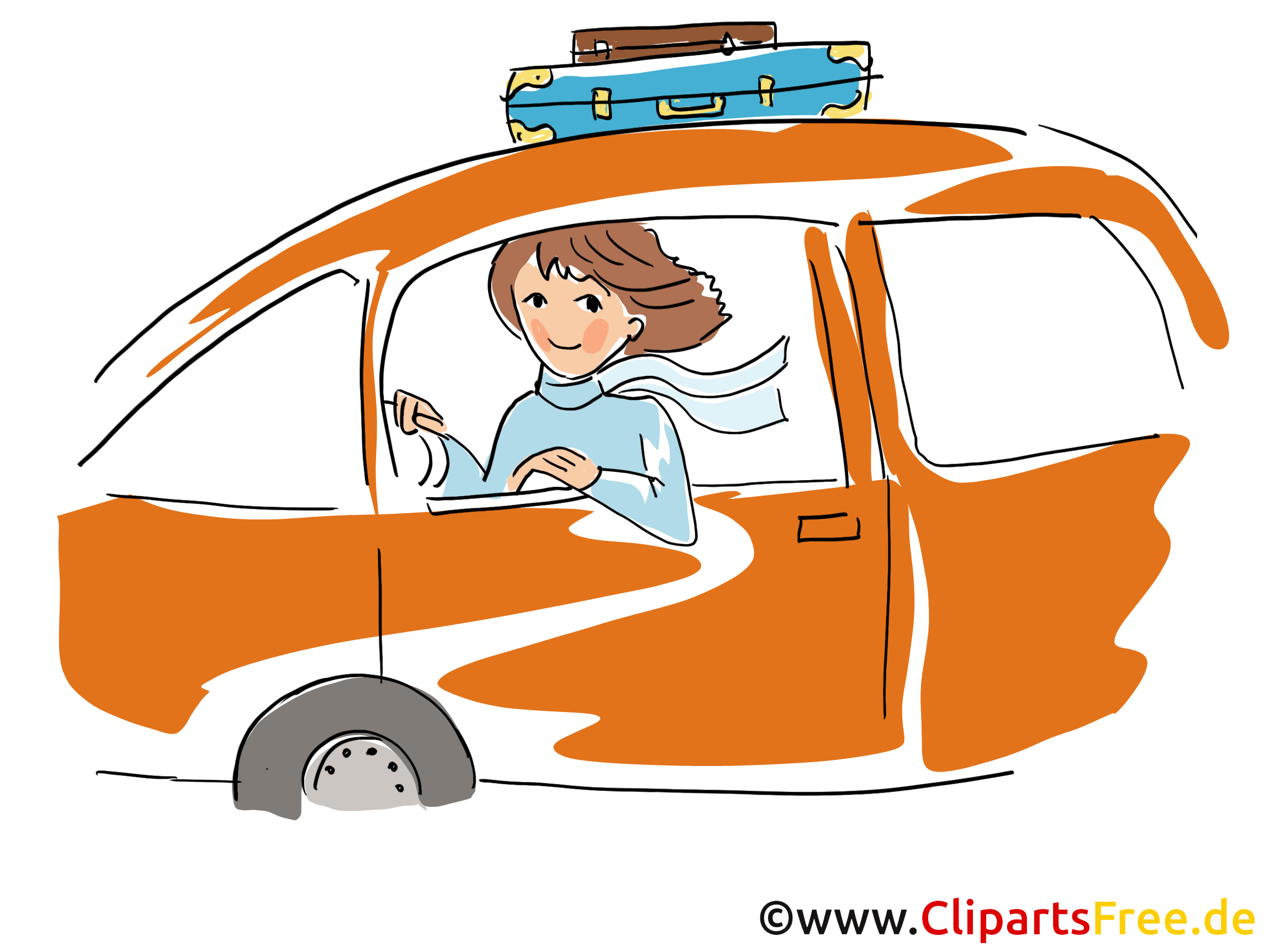 Frau faehrt Auto Clipart, Bild, Grafik, Cartoon, Illustration gratis