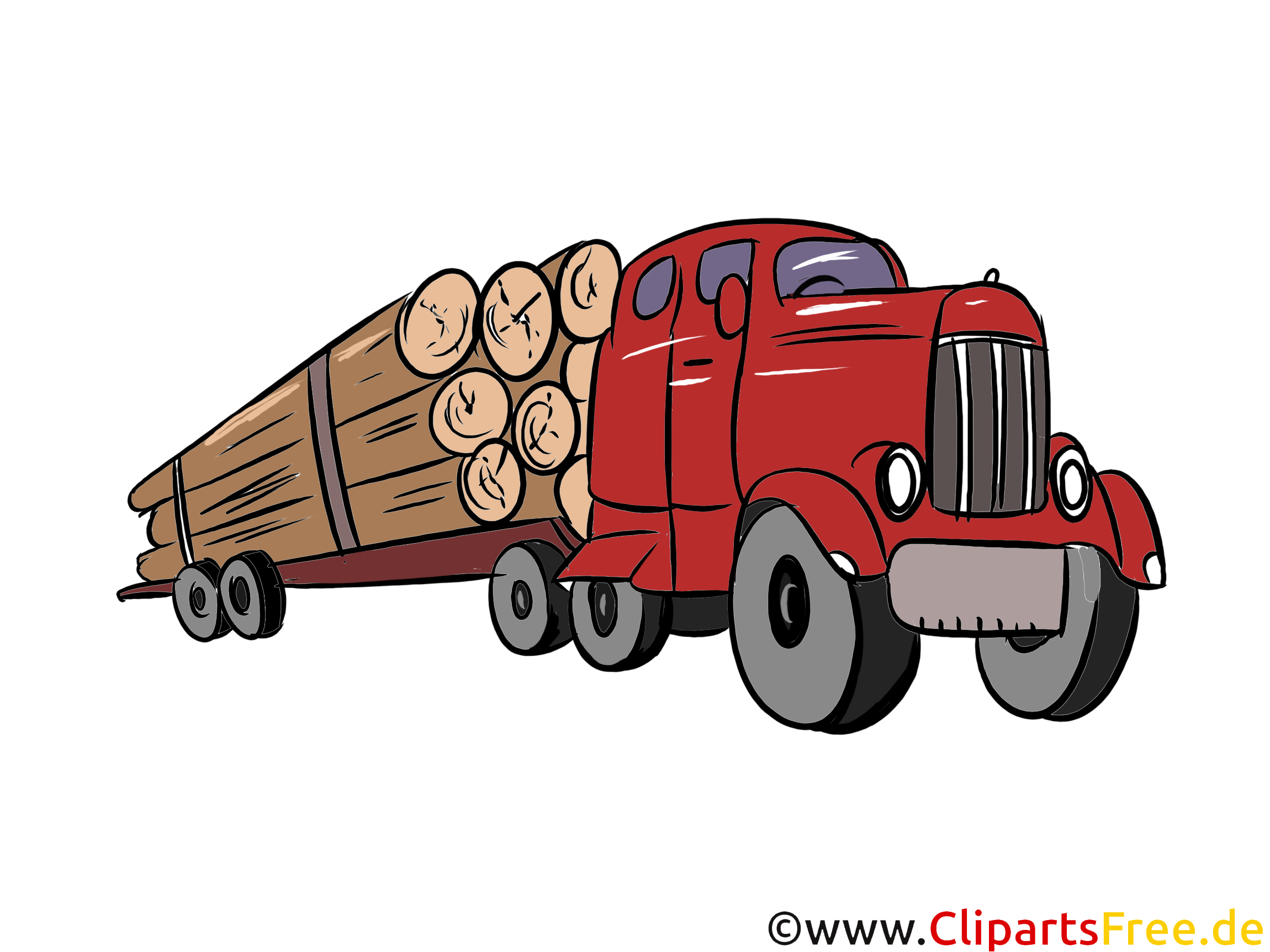 Holz-Sattelzug Illustration, Bild, Clipart Autos