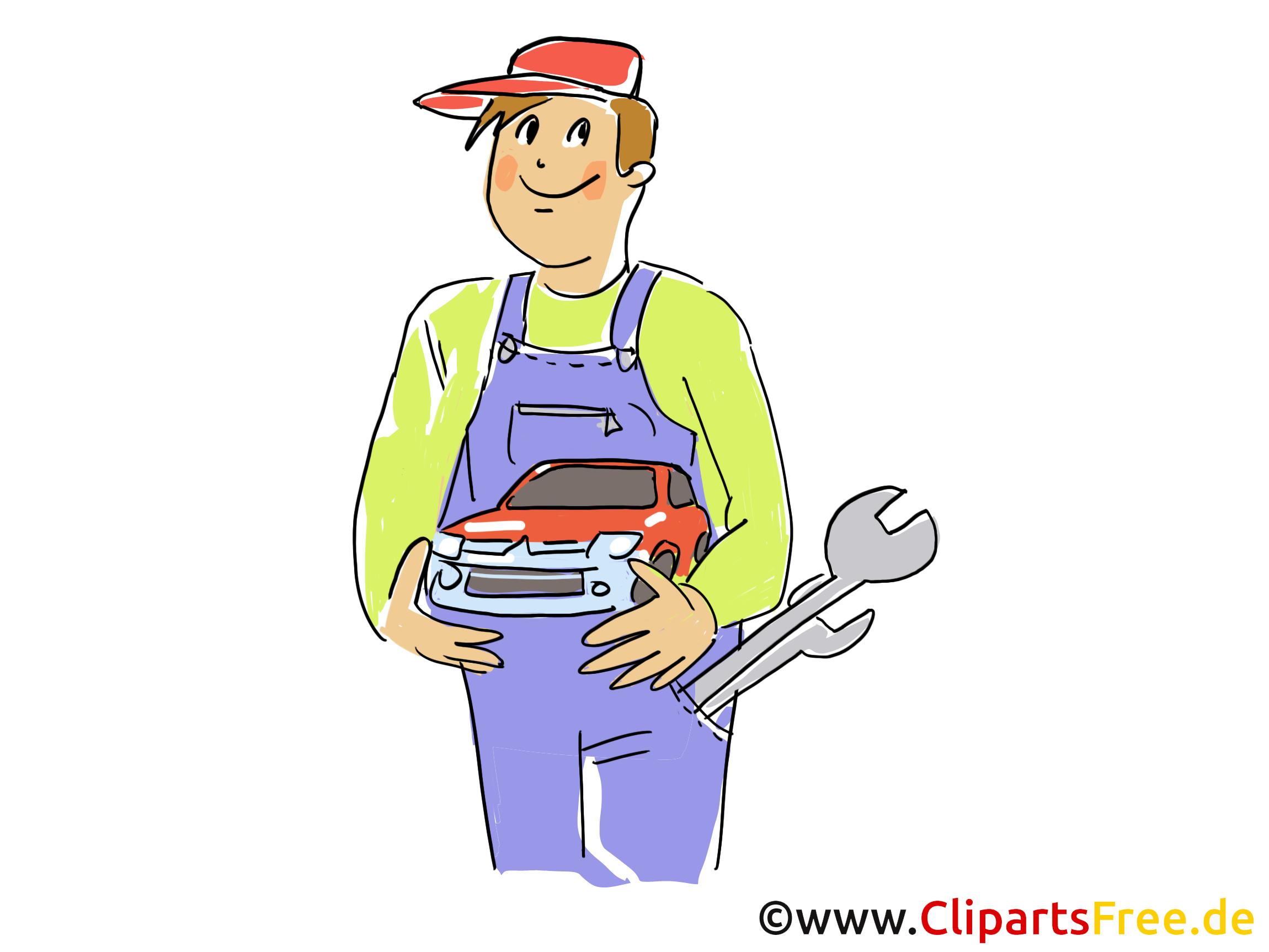 Kfz Mechaniker In Werkstatt Clipart Bild Grafik Cartoon