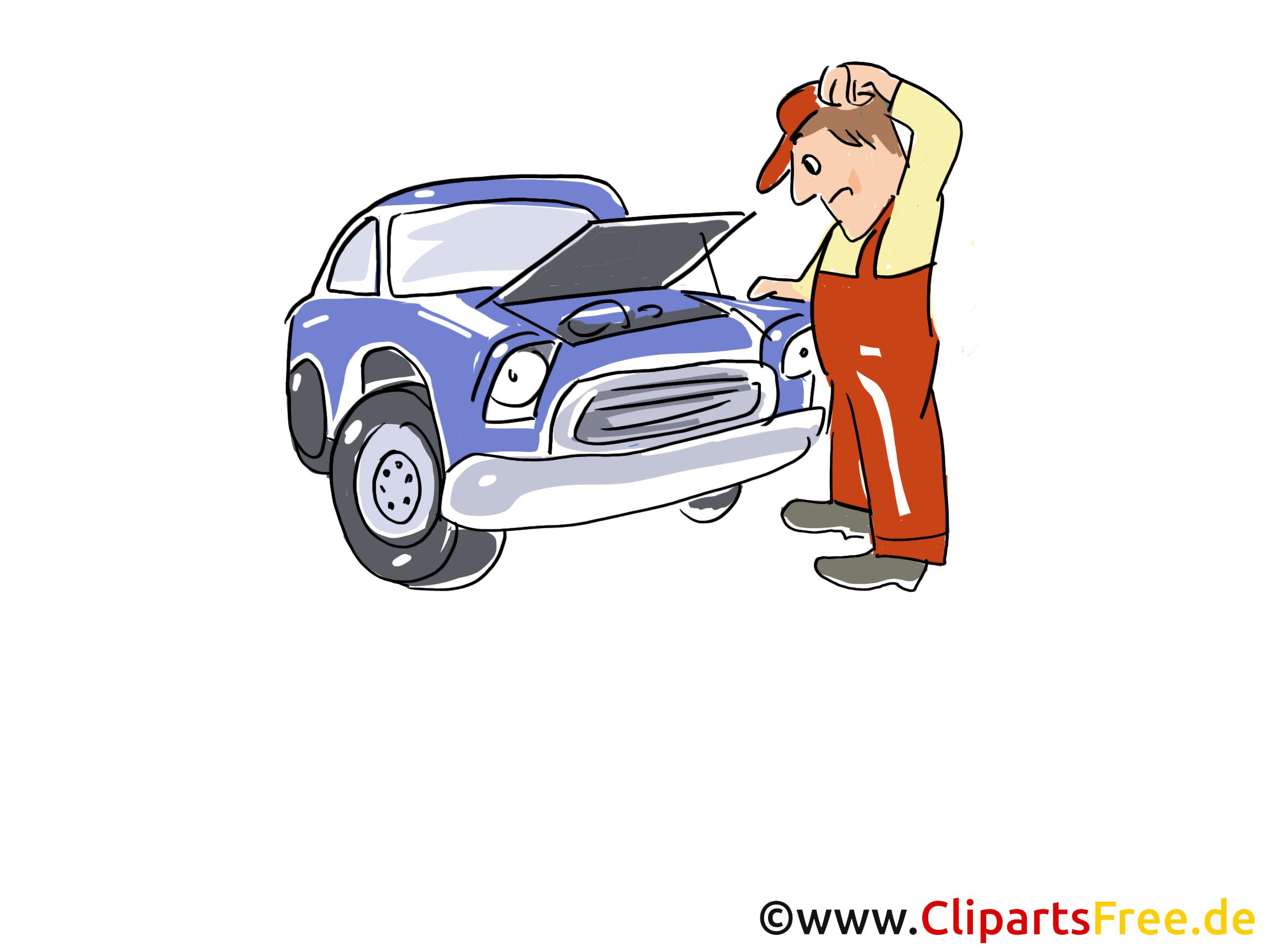 Kraftfahrzeug in Werkstatt Clipart, Bild, Grafik, Cartoon, Illustration gratis