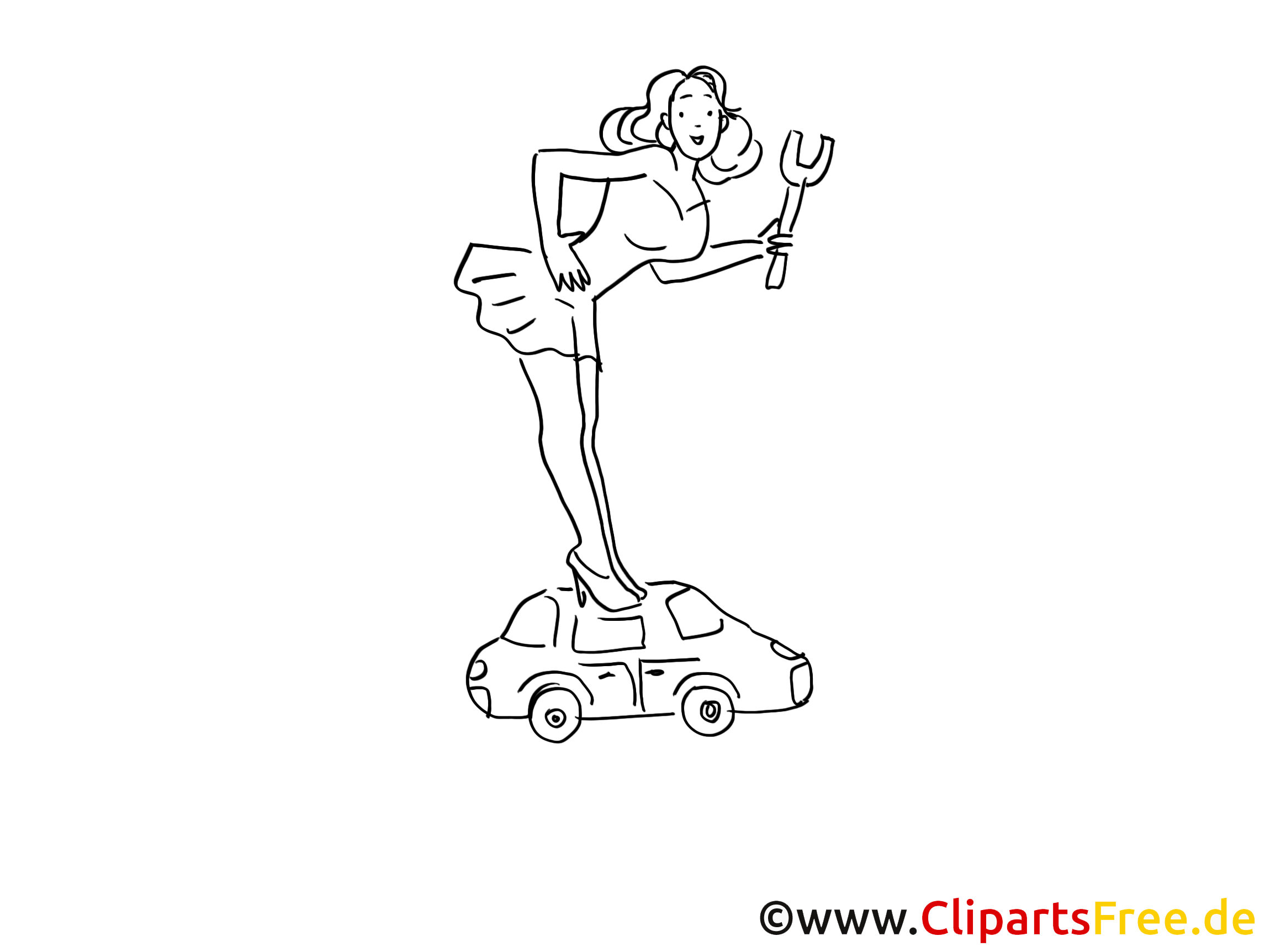 Miss tuning clip art black and white, graphic, pic, comic free