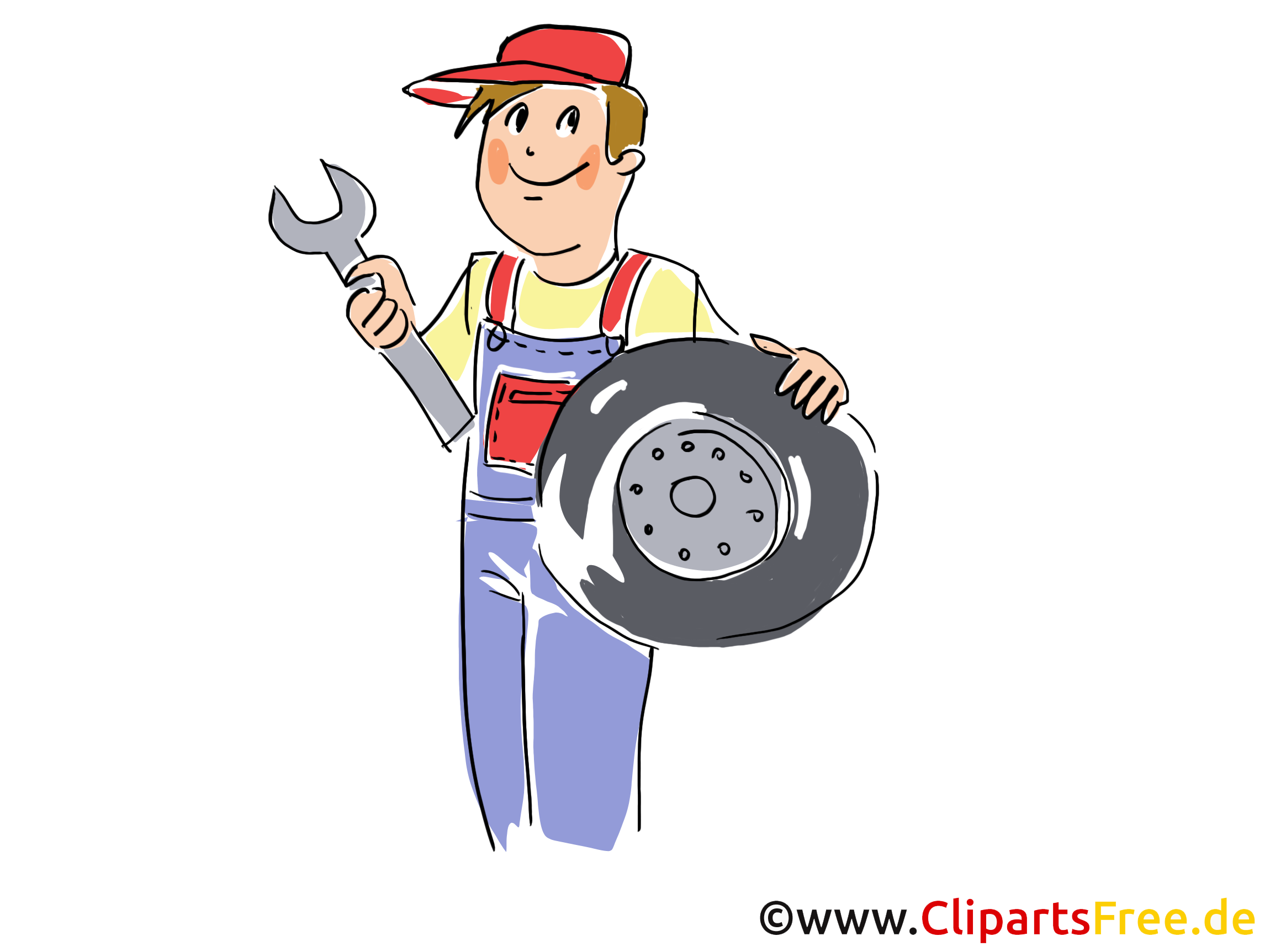 Reifenwechsel, Reifenservice Clipart, Bild, Grafik, Cartoon, Illustration gratis